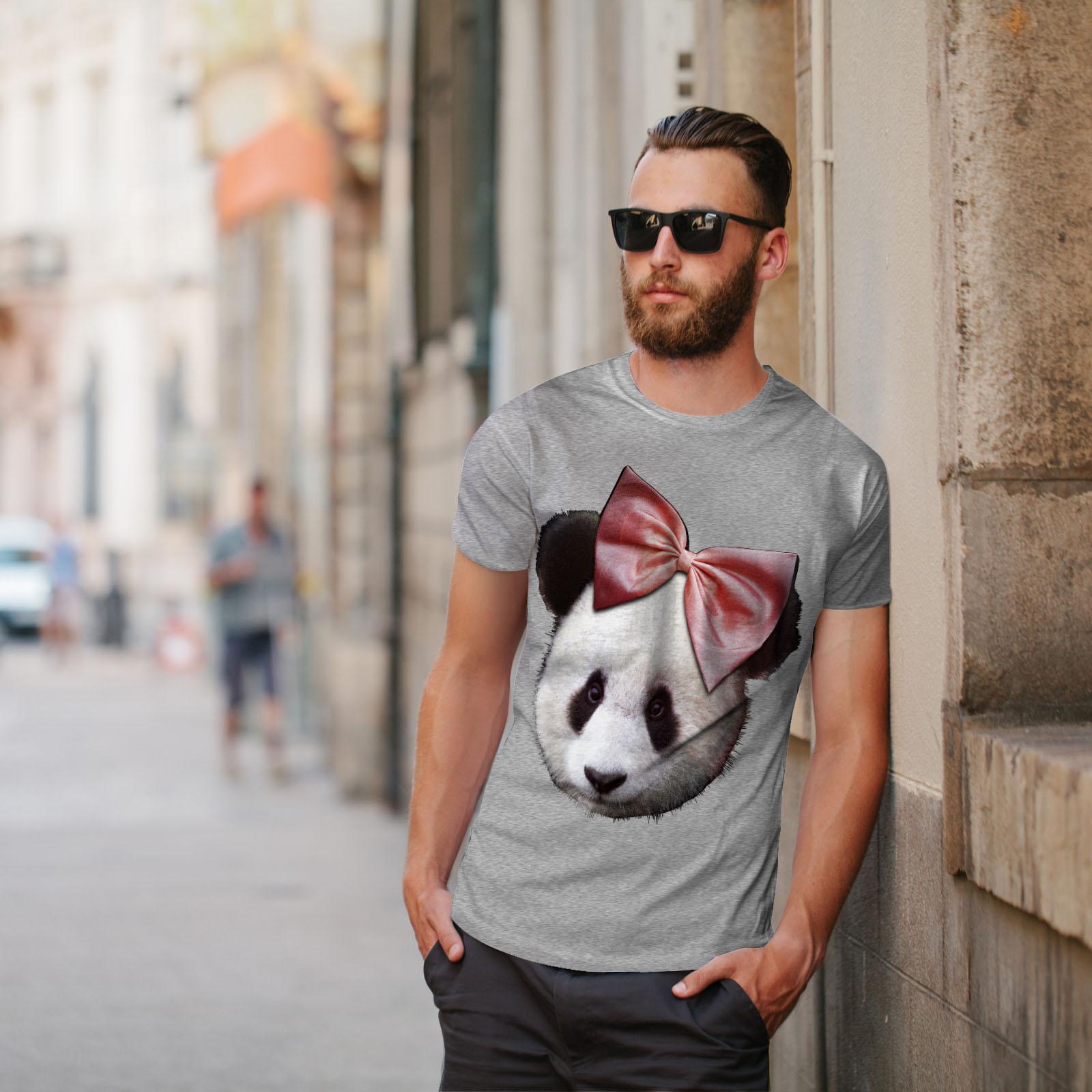 Wellcoda Panda Carino Nastro Da Uomo T-shirt tenerezza design grafico stampato T-shirt