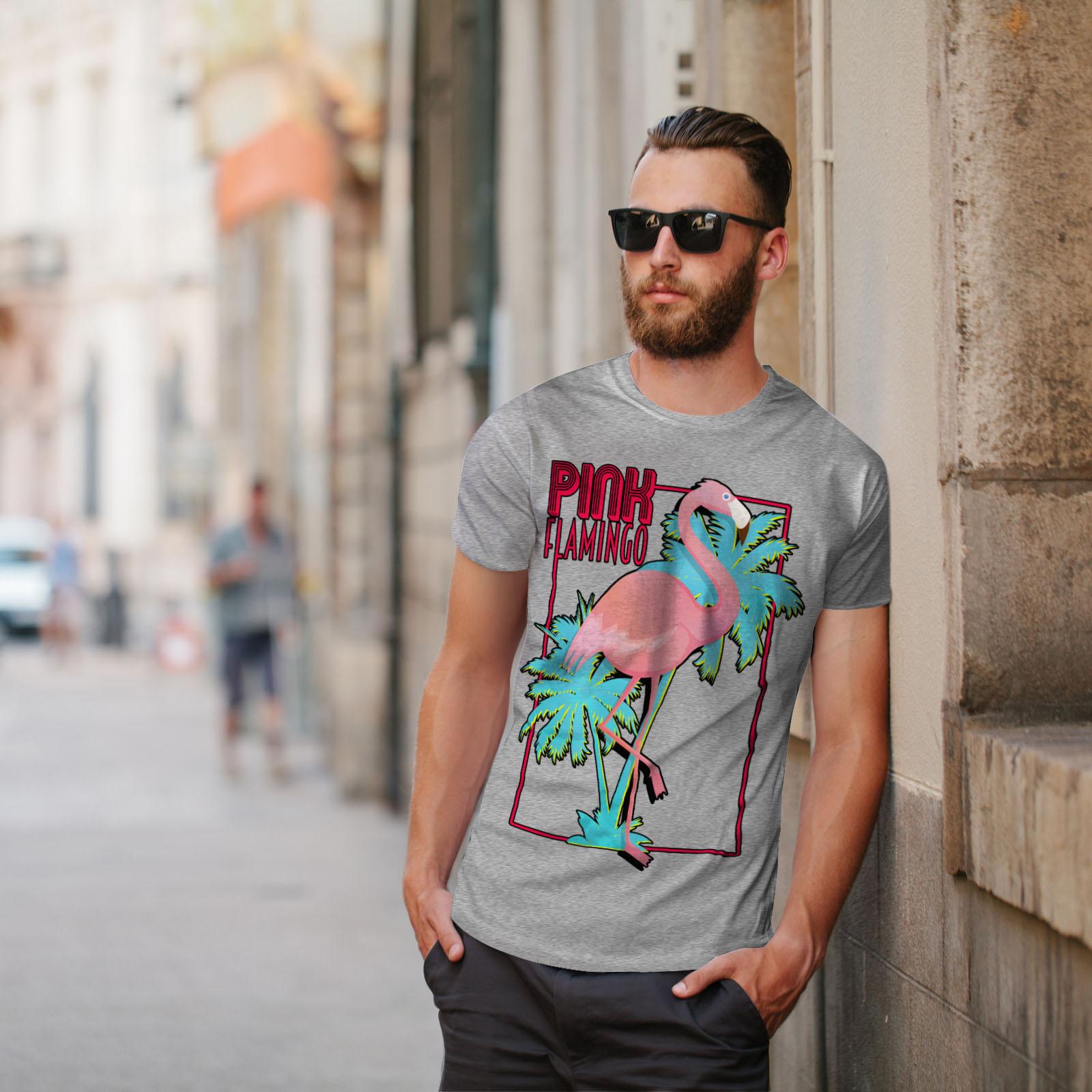 Wellcoda Rosa Flamingo Island Da Uomo T-shirt Tropicale design grafico stampato T-shirt