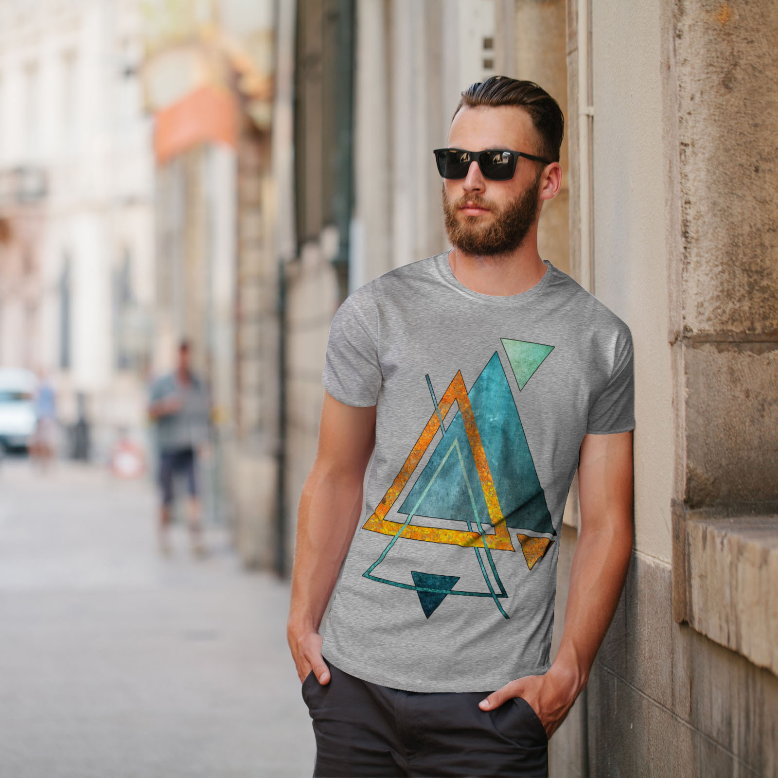 Wellcoda-Abstract-Triangle-T-shirt-homme-forme-design-graphique-imprime-Tee miniature 17