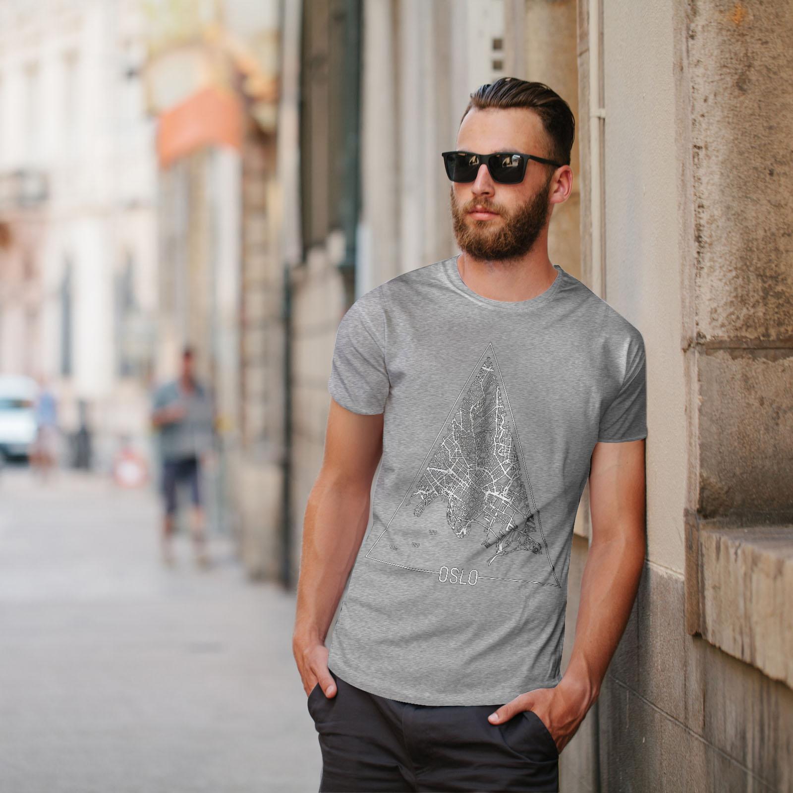 Wellcoda-Norvegia-Big-City-Oslo-da-uomo-T-shirt-Citta-design-grafico-stampato-T-shirt miniatura 17