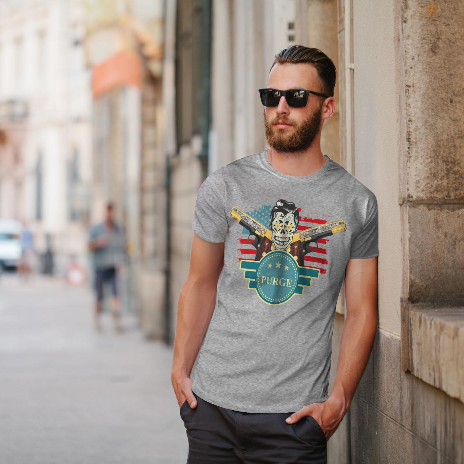 American Graphic Design Printed Tee Wellcoda USA Gun Purge Rock Mens T-shirt