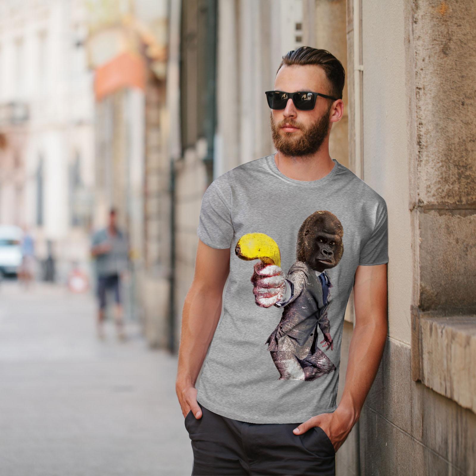 Wellcoda Monkey Gun Beast Mens T-shirt Monkey Graphic Design Printed Tee