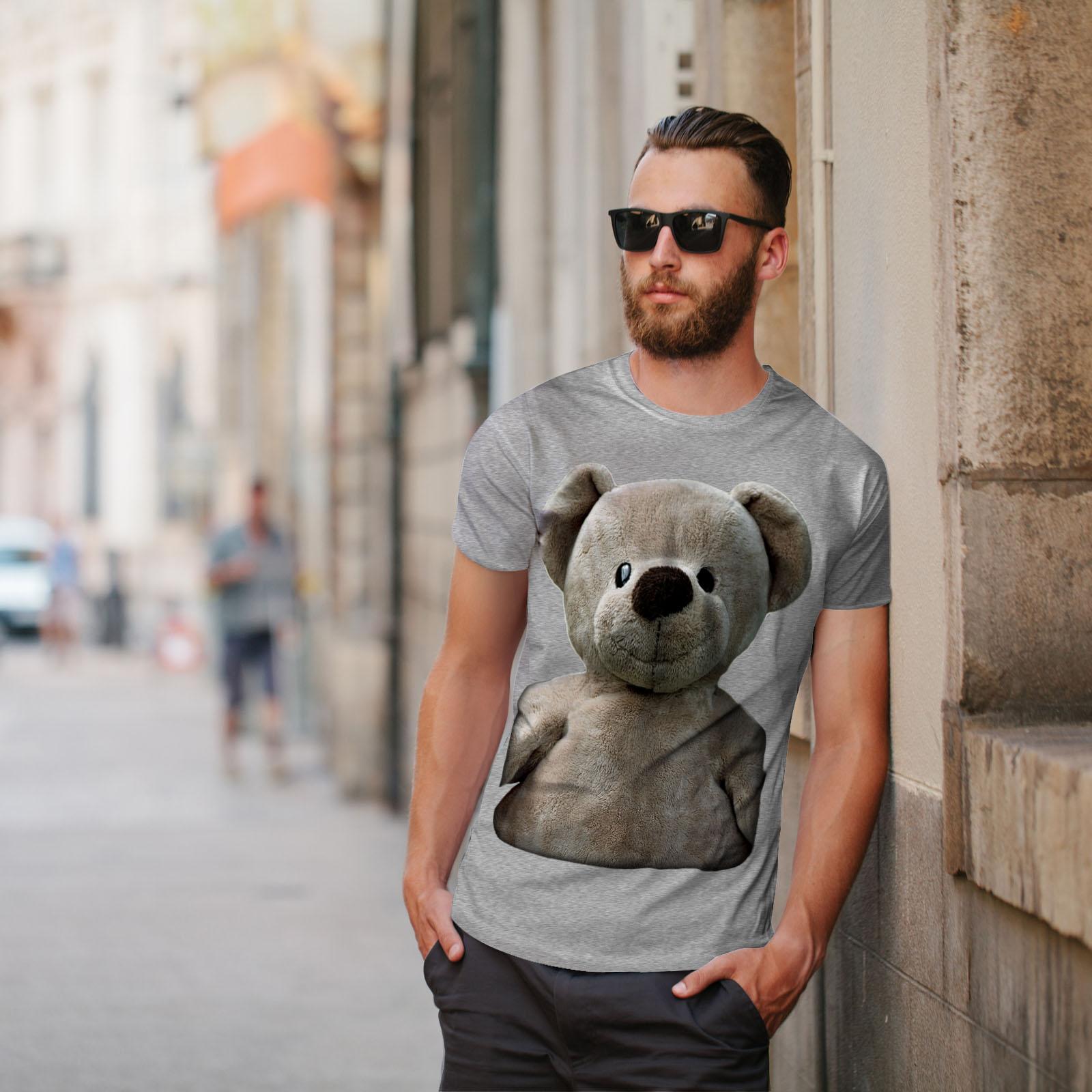 miniature 17 - Wellcoda Cute Plush Mens T-shirt, Teddy Bear Graphic Design Printed Tee