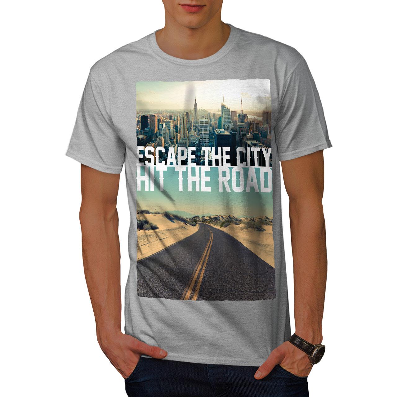 Wellcoda-Escape-The-City-Herren-T-Shirt-Lifestyle-Grafikdesign-Printed-Tee Indexbild 15