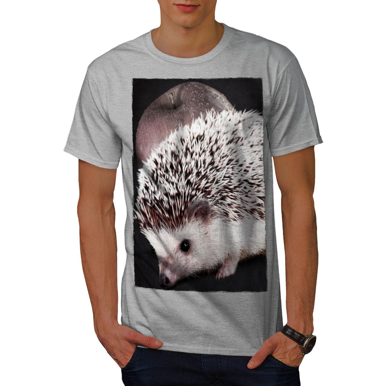 Wellcoda Hedgehog Apple Fun Womens T-Shirt Cute Graphic Style Design Tee