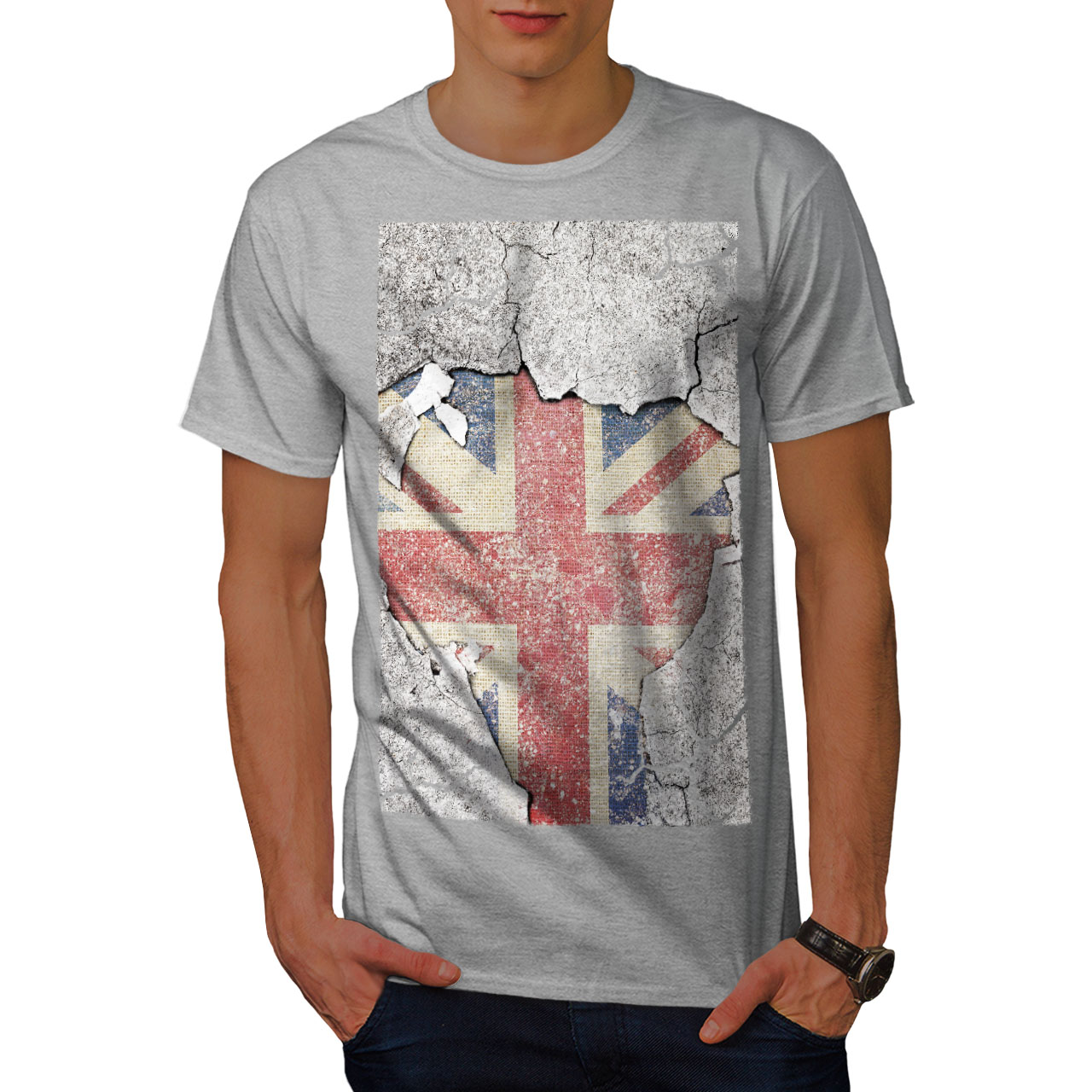 British design grafico stampato T-shirt FLAG wellcoda Novità Stampa UK da Uomo T-shirt