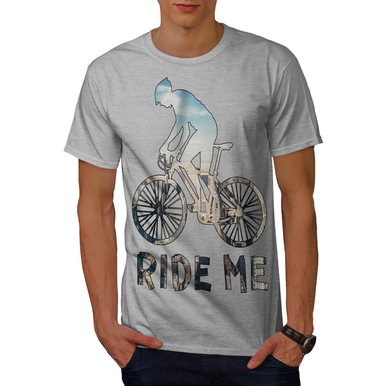 azione design grafico stampato T-shirt Wellcoda cavalcarmi Sport Bici Da Uomo T-shirt
