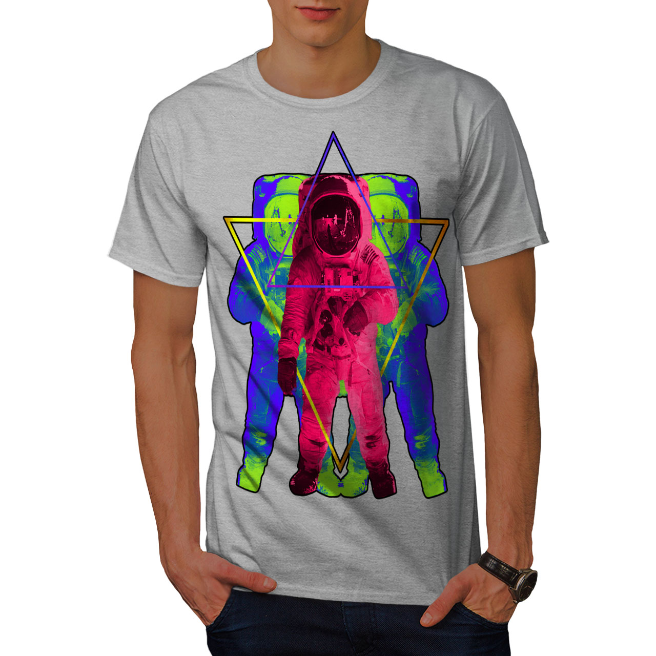 Wellcoda-Psychedelic-Astronaut-Mens-T-shirt-Star-Graphic-Design-Printed-Tee thumbnail 15