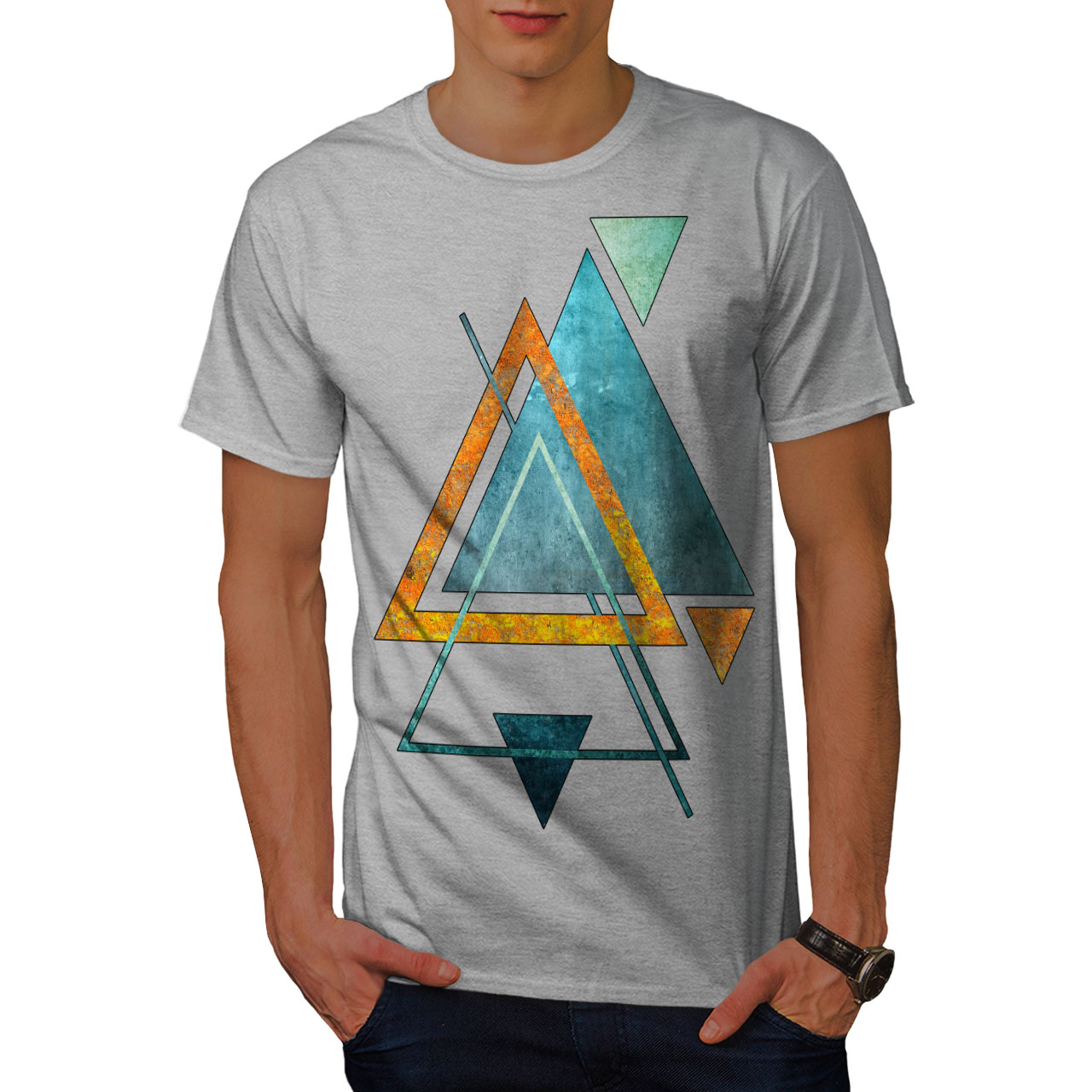 Wellcoda-Abstract-Triangle-T-shirt-homme-forme-design-graphique-imprime-Tee miniature 15