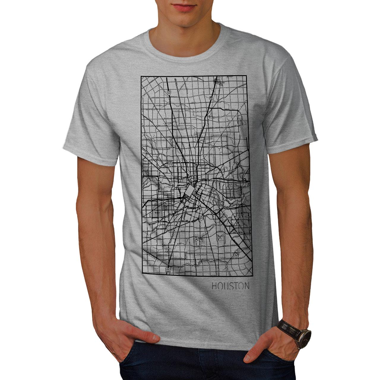 000178c98107 Image is loading Wellcoda-Houston-City-Map-Fashion-Mens-T-shirt-