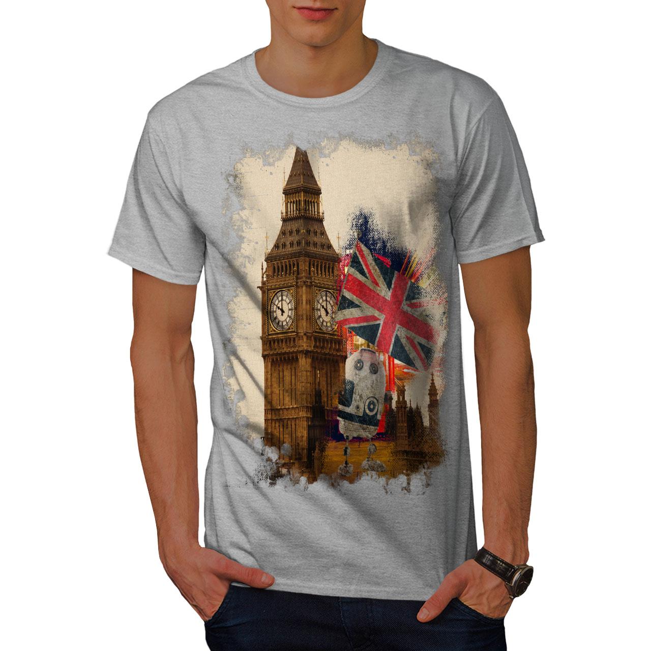 b0187382c8a Image is loading Wellcoda-Big-Ben-Flag-London-UK-Mens-T-