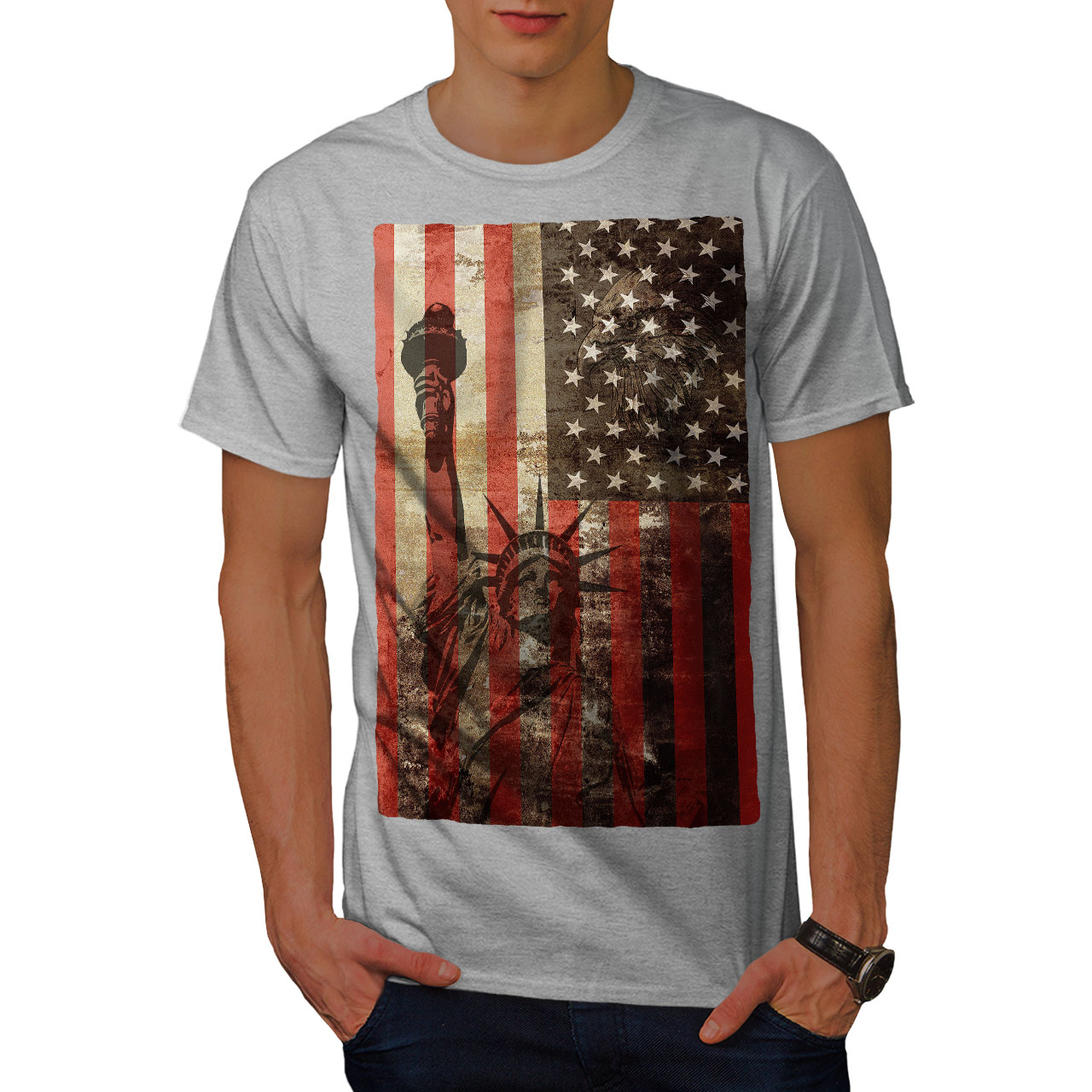 T Shirt Design York: Wellcoda New York Flag Liberty Mens T-shirt, Tourism