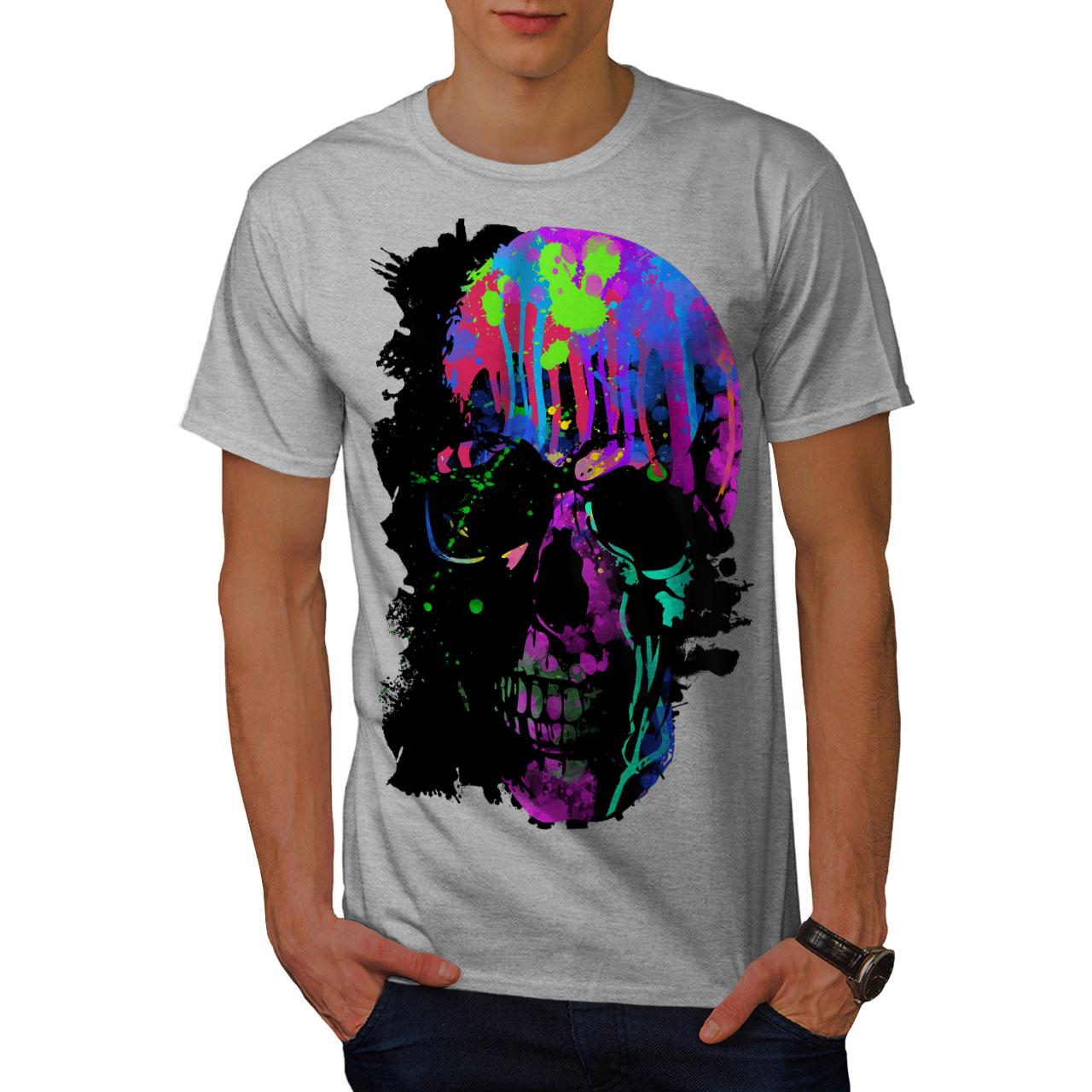 Wellcoda-Skull-Artsy-Mens-T-shirt-Neon-Night-Graphic-Design-Printed-Tee thumbnail 15
