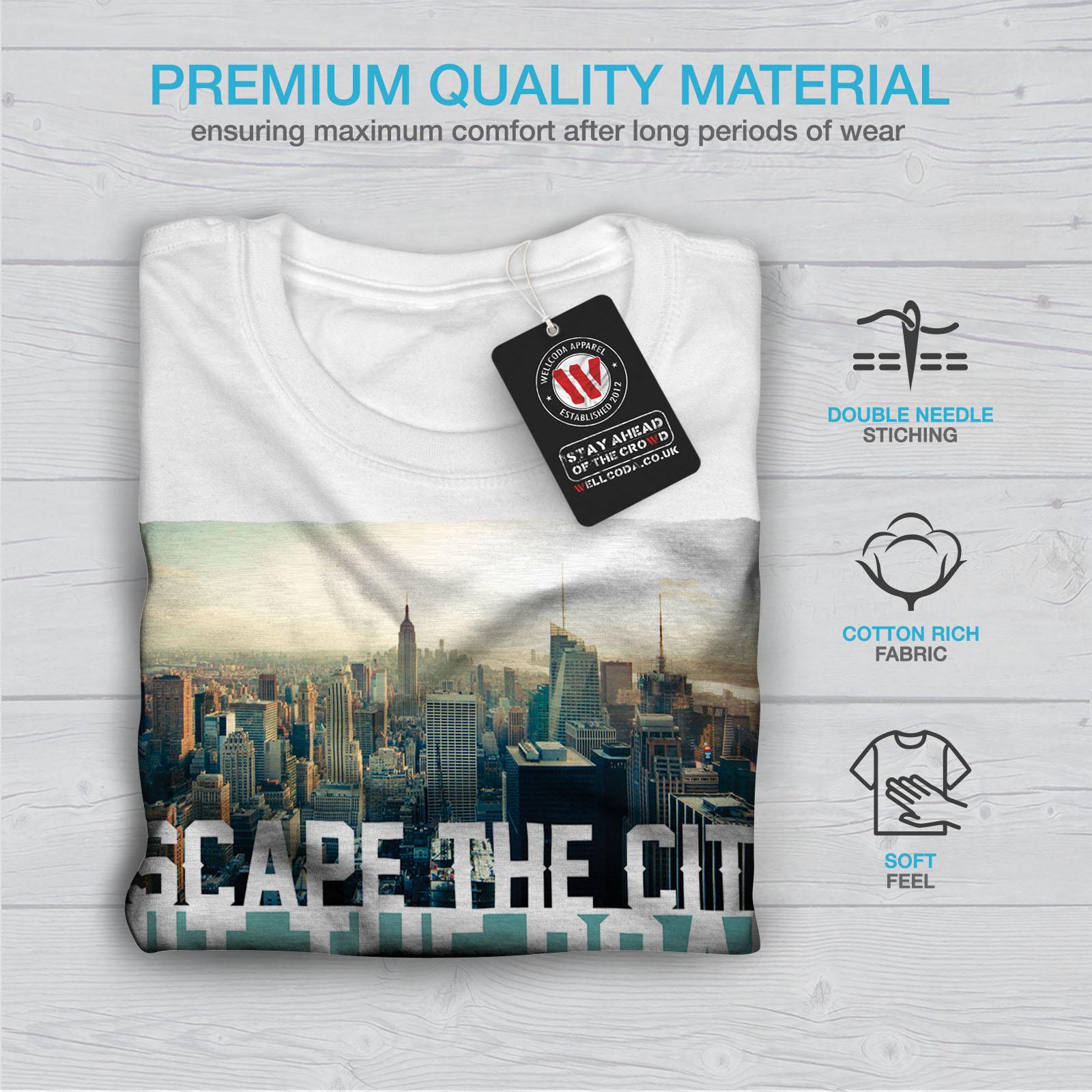 Wellcoda-Escape-The-City-Herren-T-Shirt-Lifestyle-Grafikdesign-Printed-Tee Indexbild 13