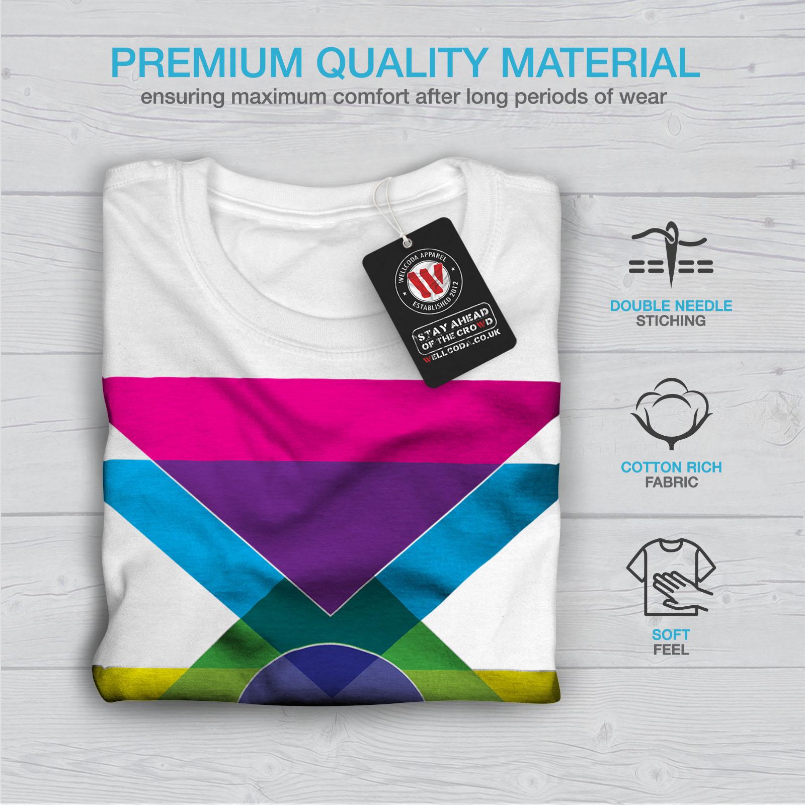 Wellcoda Geometric Pattern Mens T-shirt Colorful Graphic Design Printed Tee