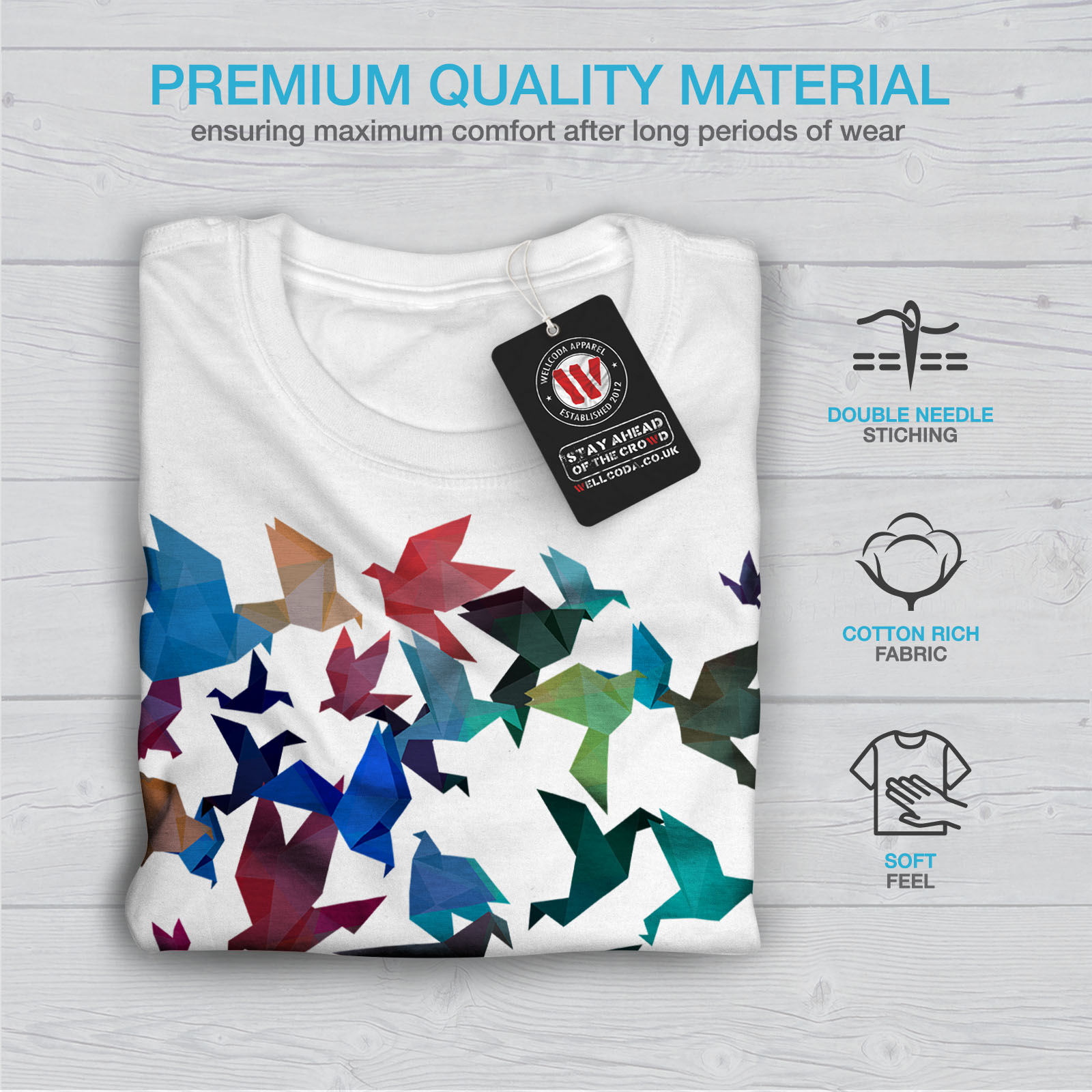 Wellcoda-Origami-Bird-Colors-Mens-T-shirt-Craft-Graphic-Design-Printed-Tee thumbnail 13