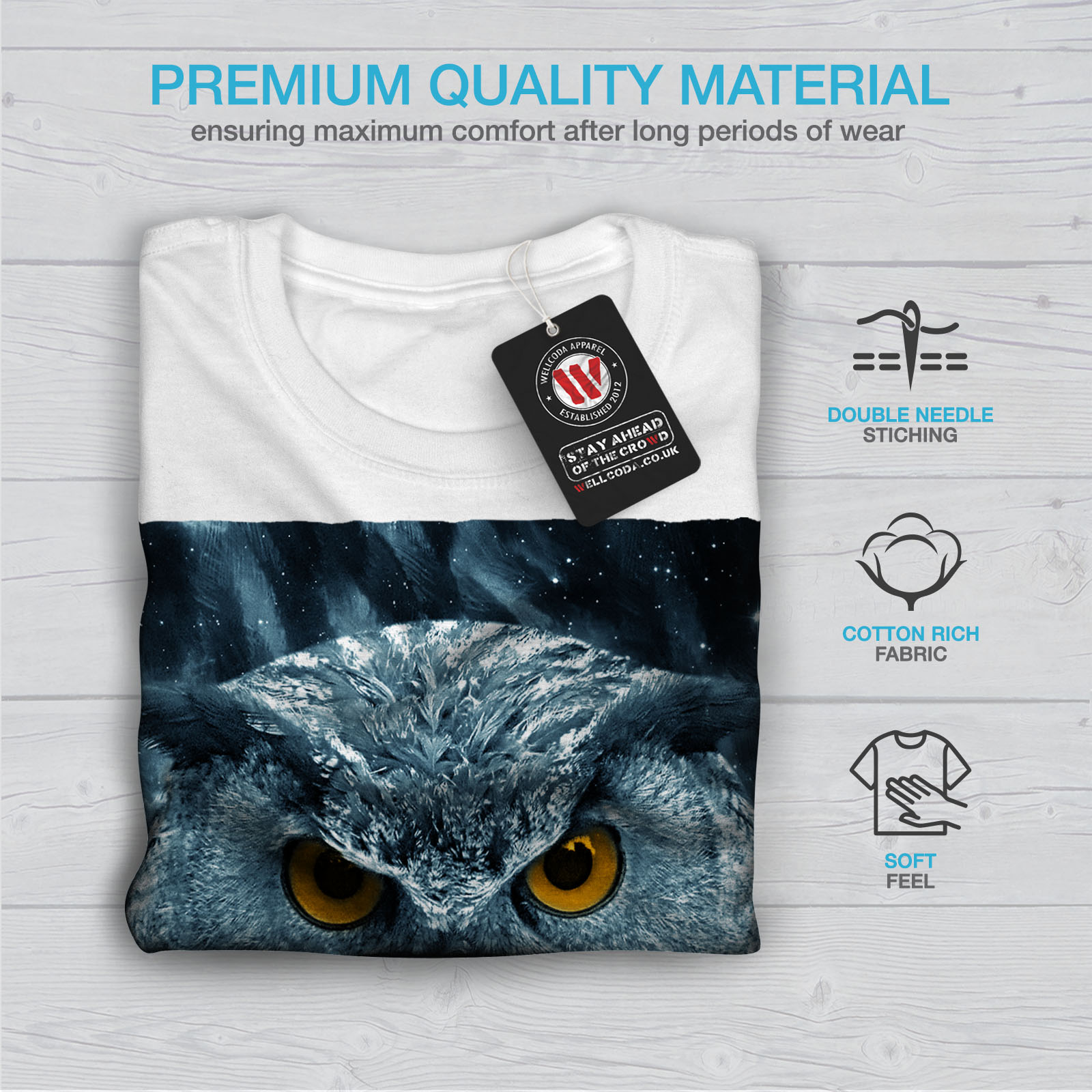 miniature 13 - Wellcoda-Wild-Looking-Owl-Mens-T-shirt-Mother-Graphic-Design-Printed-Tee