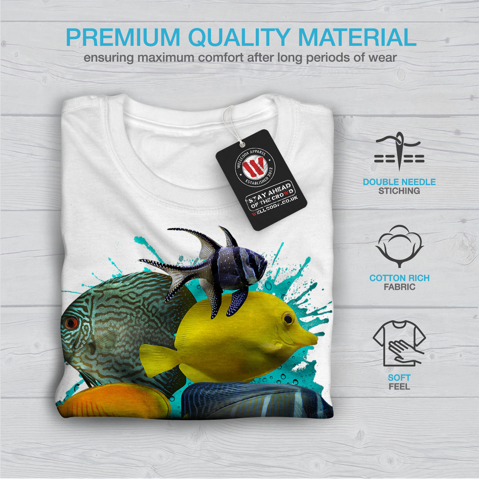 Wellcoda Sea Fish Nature Animal Mens T-shirt Water Graphic Design Printed Tee
