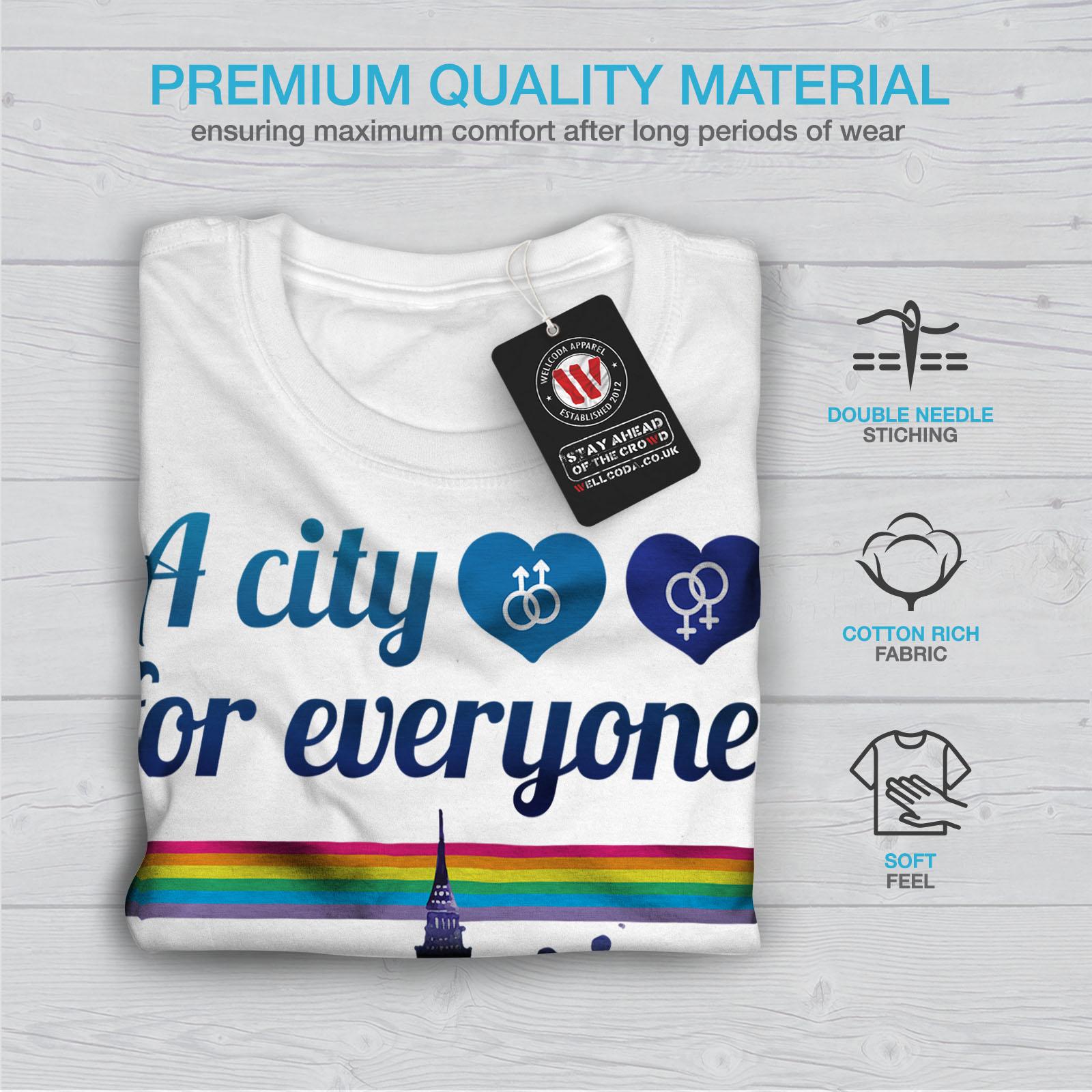 Wellcoda Pride Love Urbano Londra Da Uomo T-shirt Regno Unito design grafico stampato T-shirt
