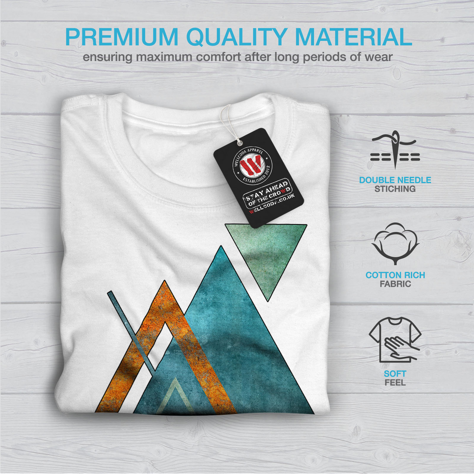 Wellcoda-Abstract-Triangle-T-shirt-homme-forme-design-graphique-imprime-Tee miniature 13