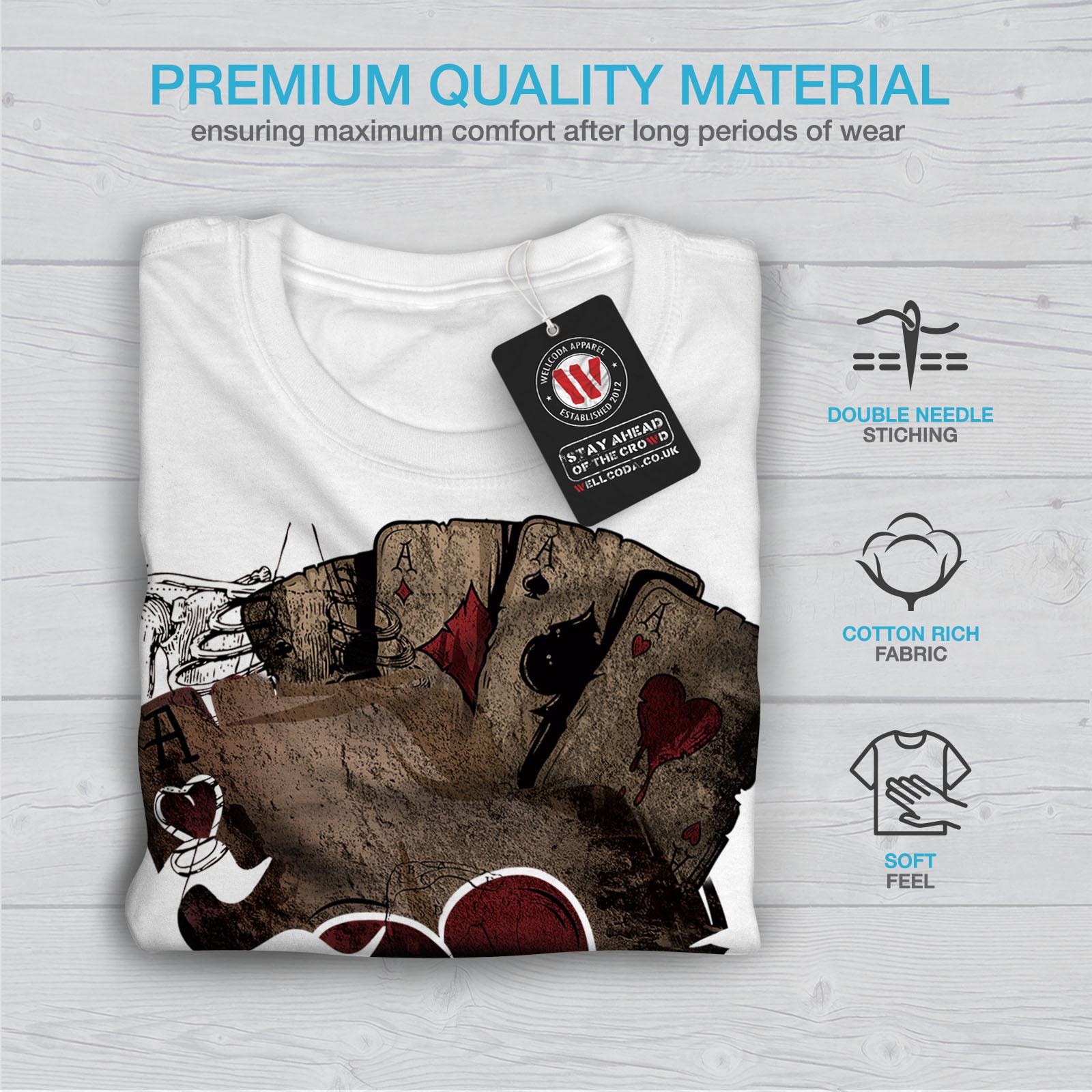 Wellcoda-Poker-Gamble-Squelette-T-shirt-homme-effrayant-conception-graphique-imprime-Tee miniature 13
