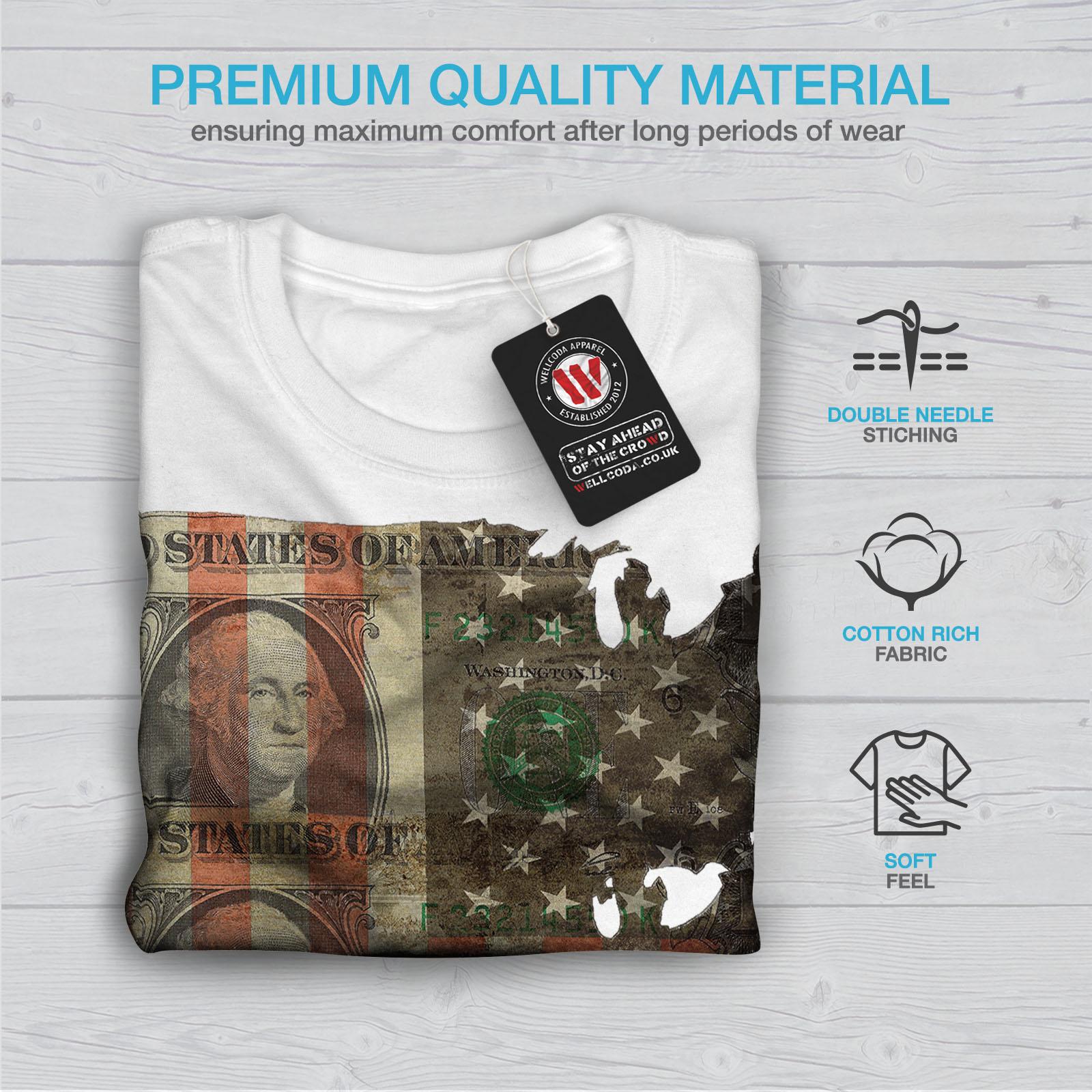 Wellcoda Benjamin Dollar Flag USA Mens T-shirt USA Graphic Design Printed Tee