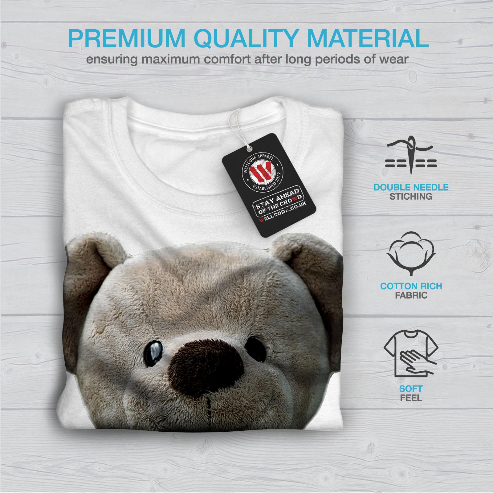 miniature 13 - Wellcoda Cute Plush Mens T-shirt, Teddy Bear Graphic Design Printed Tee