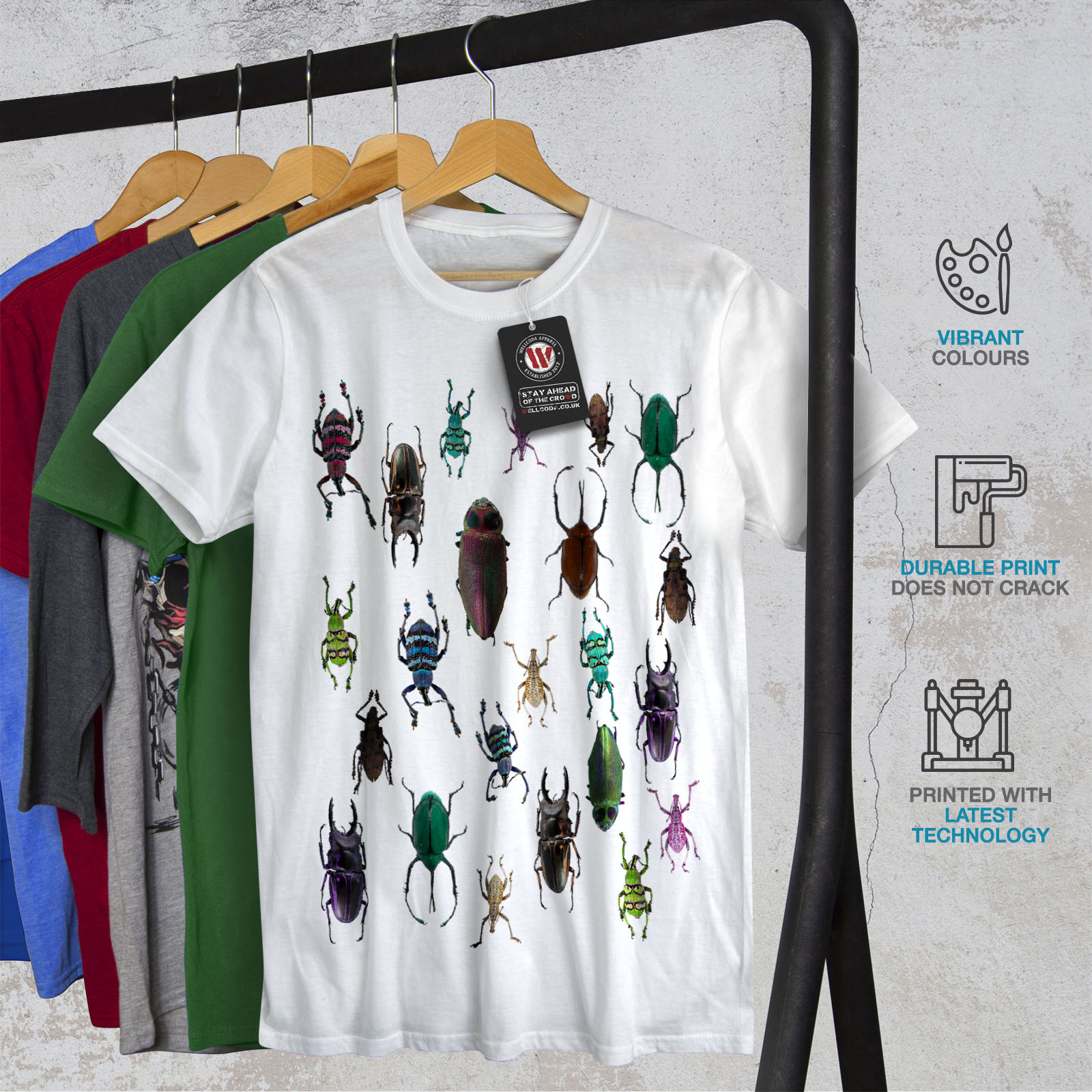 Wellcoda Colored Bugs Womens Long Sleeve T-shirt Pattern Casual Design