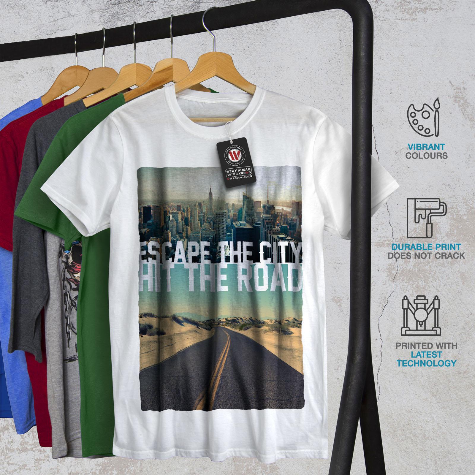 Wellcoda-Escape-The-City-Herren-T-Shirt-Lifestyle-Grafikdesign-Printed-Tee Indexbild 12