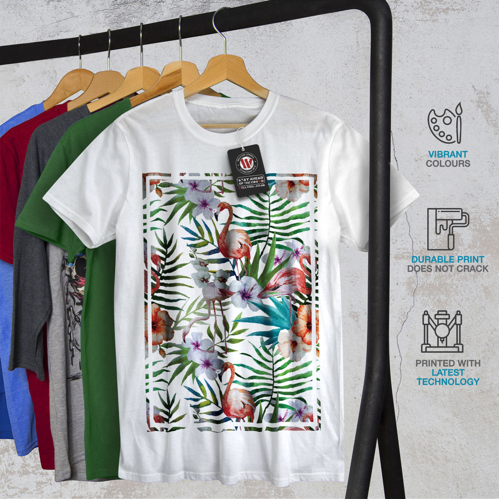 Wellcoda flamigo flower mens t shirt ornament graphic for Graphic design t shirts uk