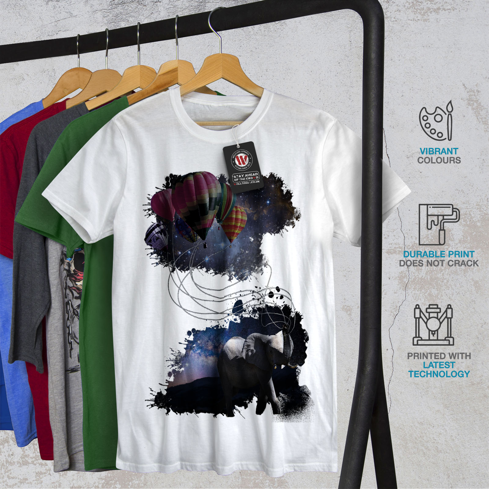 Animale Design Grafico Stampato T-shirt Wellcoda Dream Fantasia Elefante Da Uomo T-shirt