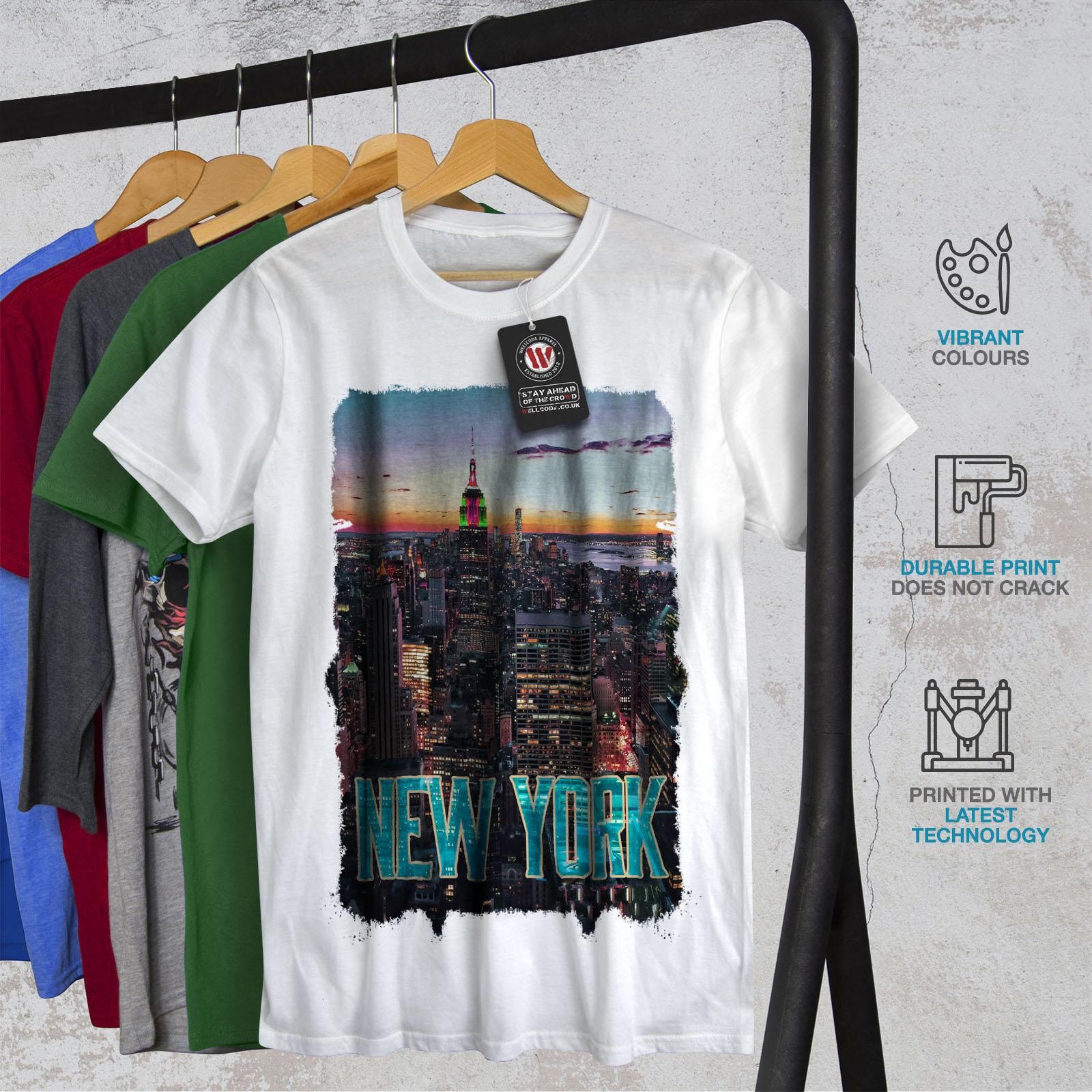 e852aedd Dettagli su Wellcoda New York Città Tramonto Da Uomo T-shirt, American  design grafico stampato T-shirt- mostra il titolo originale
