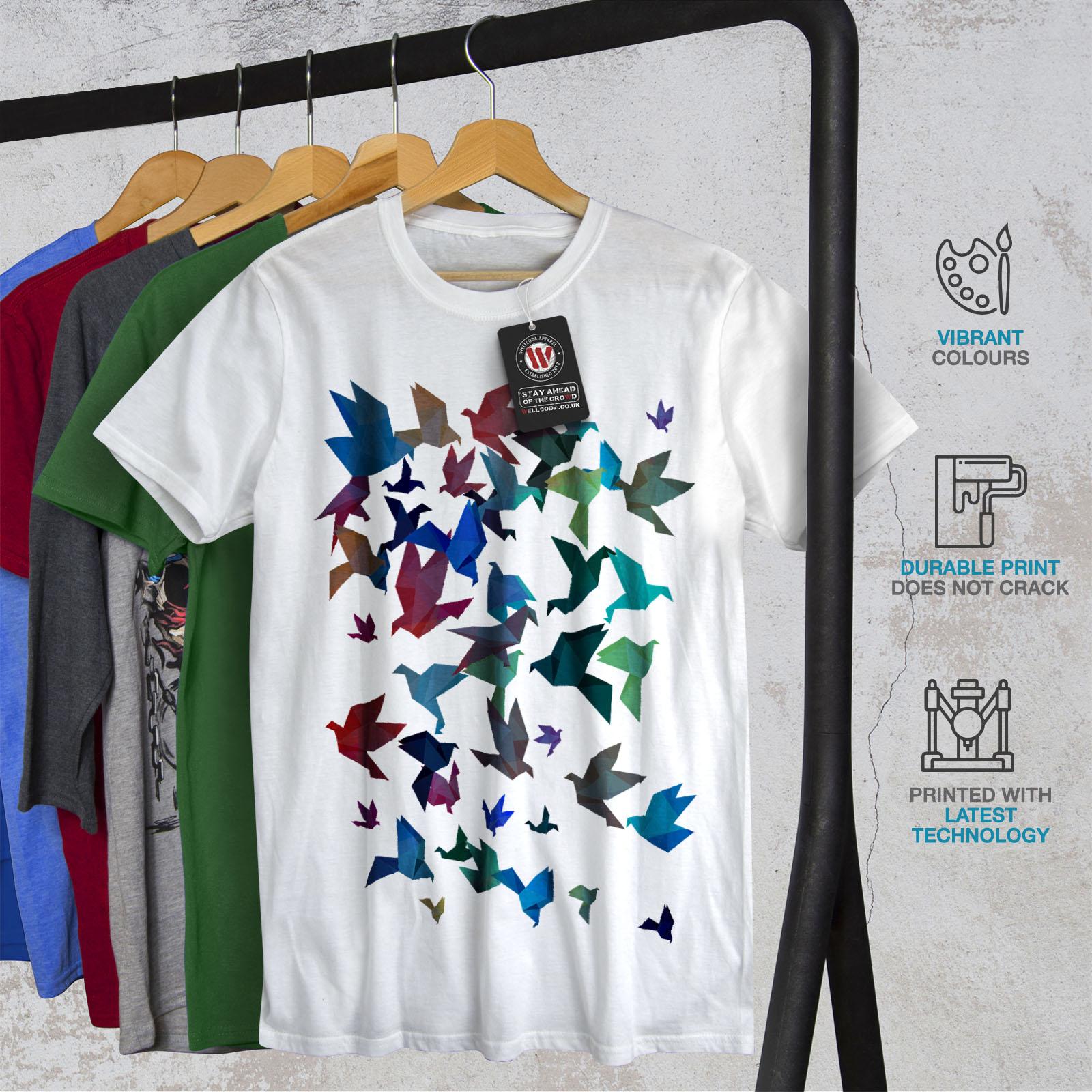 Wellcoda-Origami-Bird-Colors-Mens-T-shirt-Craft-Graphic-Design-Printed-Tee thumbnail 12