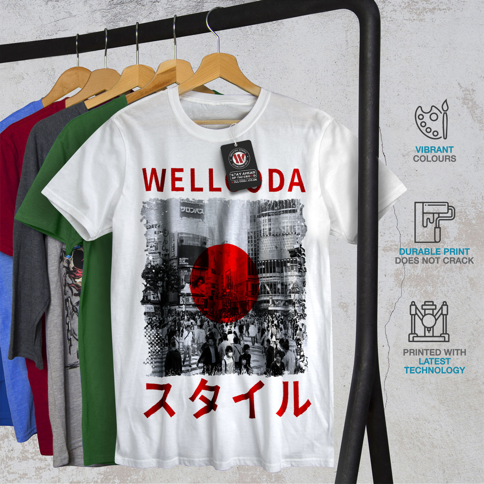 Japanese Graphic Design Wellcoda Japan Style Flag Mens Long Sleeve T-shirt