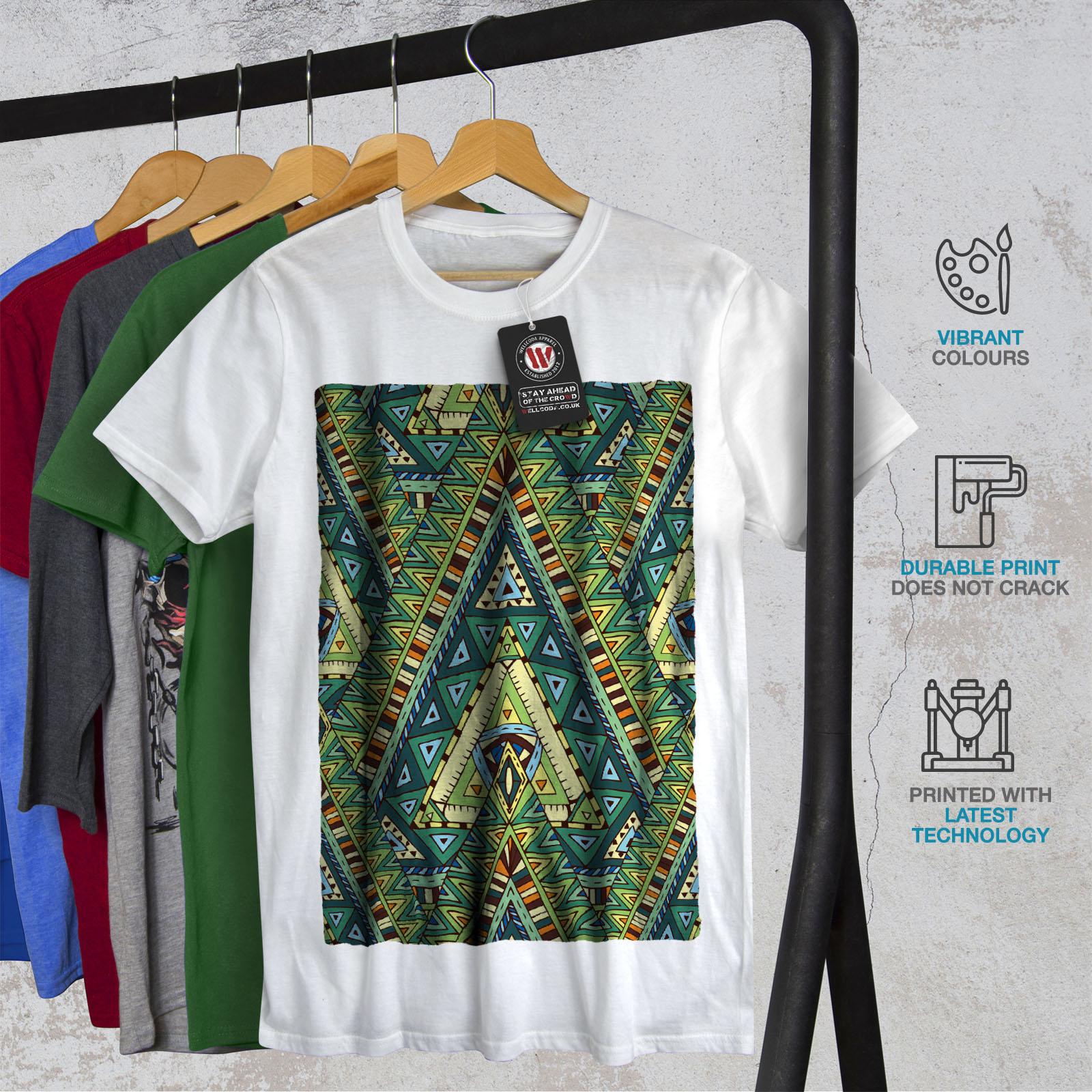 Wellcoda Spirit Pattern Mens Long Sleeve T-shirt Colorful Graphic Design