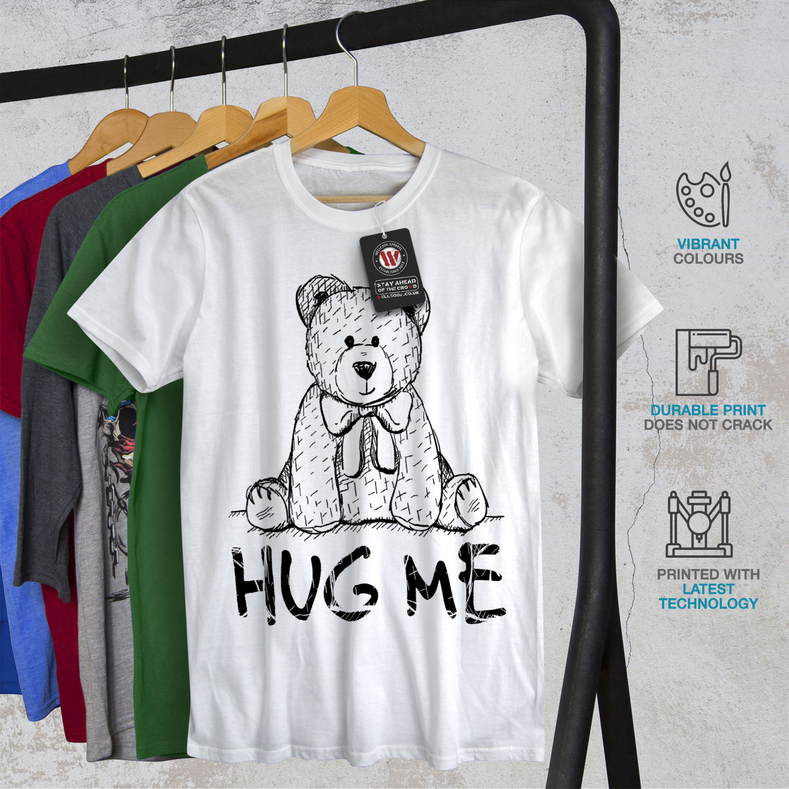 miniature 12 - Wellcoda Hug Me Teddy Bear Mens T-shirt, Nice & Graphic Design Printed Tee