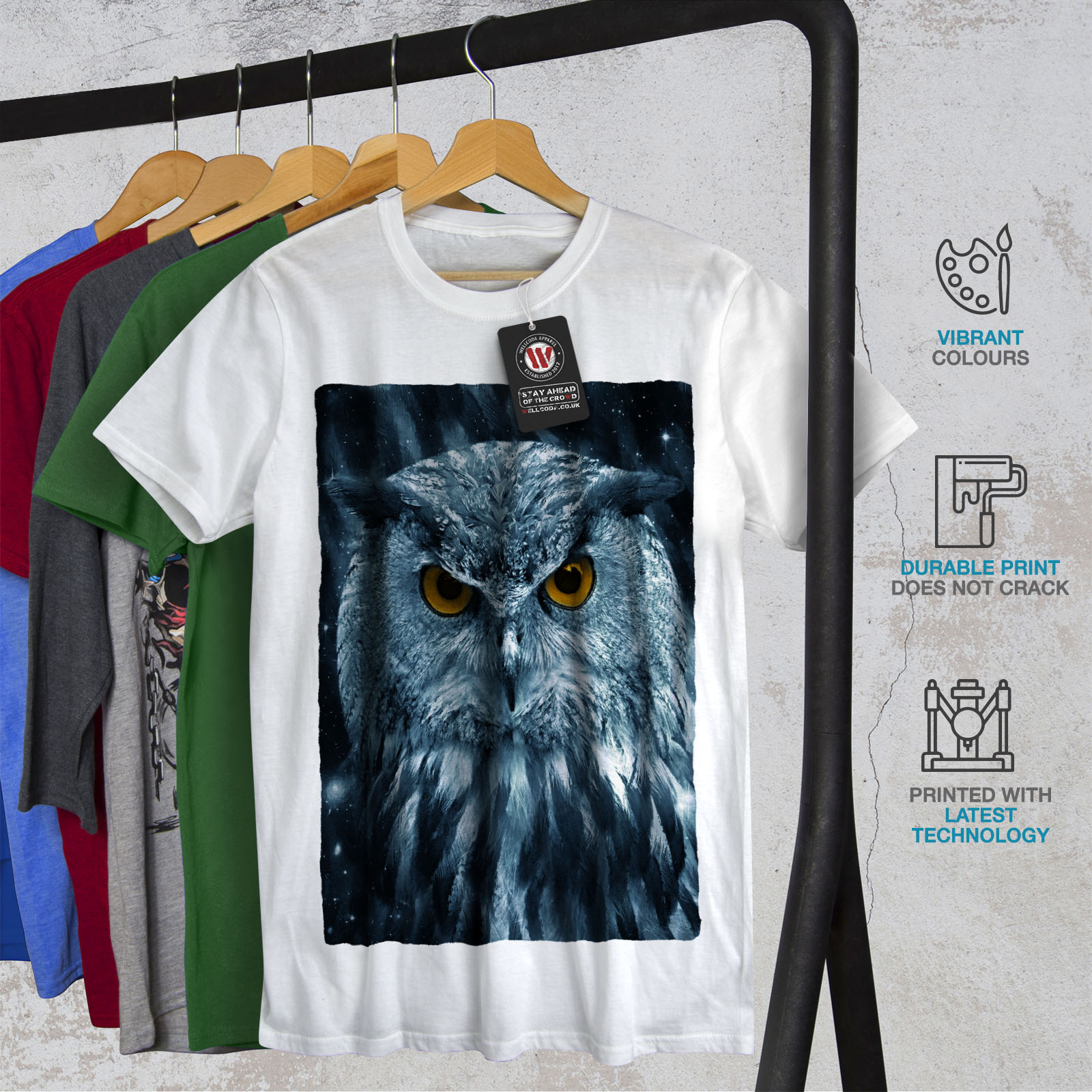 miniature 12 - Wellcoda-Wild-Looking-Owl-Mens-T-shirt-Mother-Graphic-Design-Printed-Tee