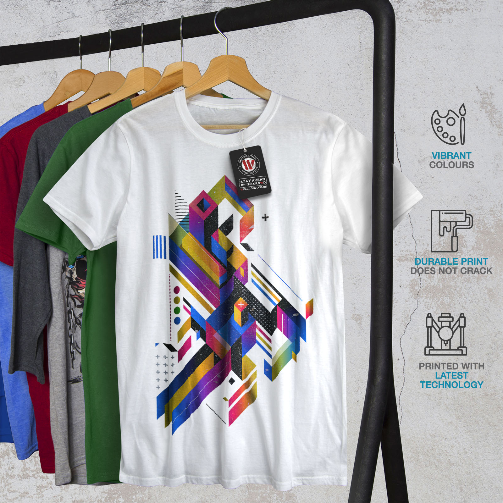 Wellcoda-Abstract-Maze-T-shirt-homme-Labyrinthe-conception-graphique-imprime-Tee miniature 12