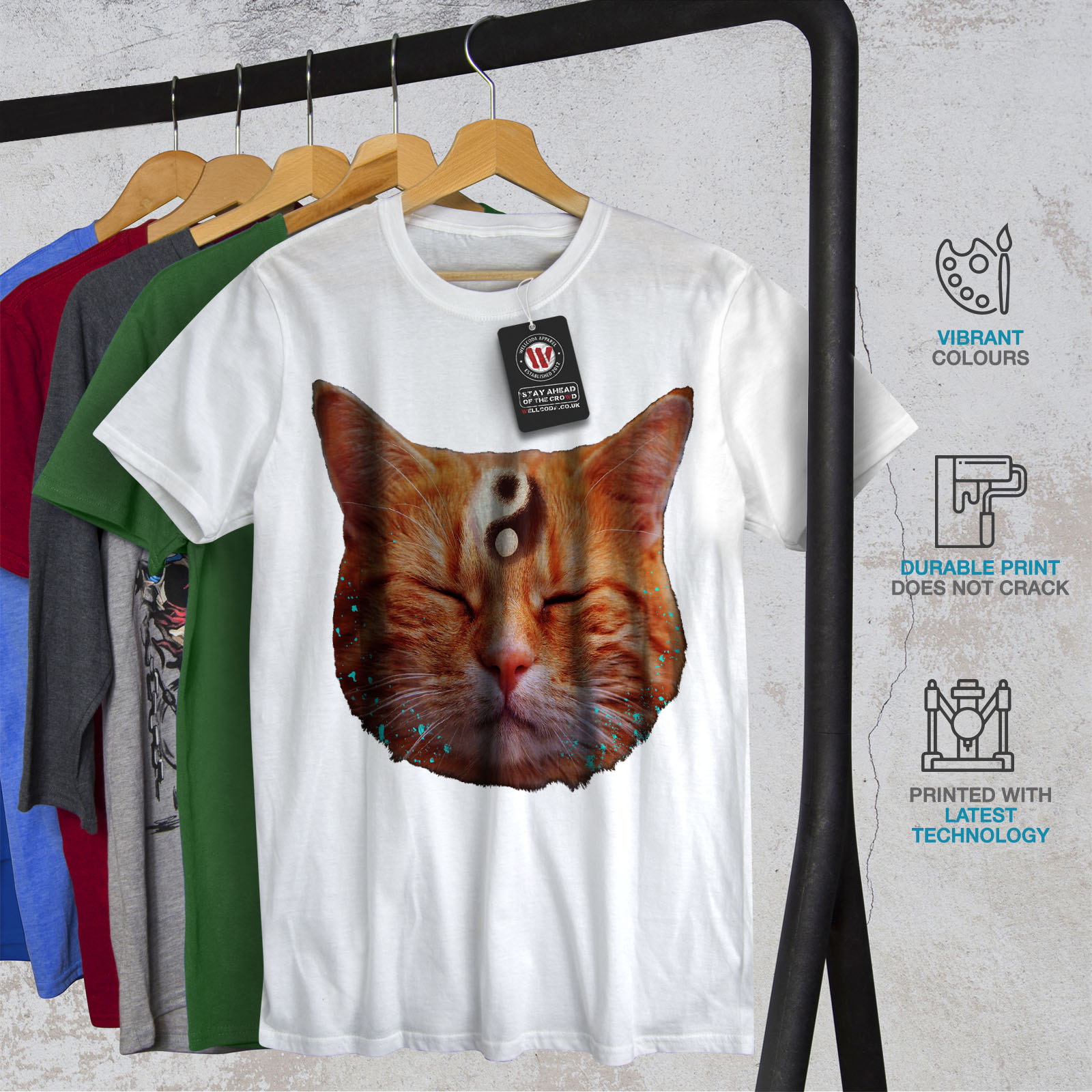 Wellcoda Meditation Zen Cat Mens Long Sleeve T-shirt Yin Yang Graphic Design