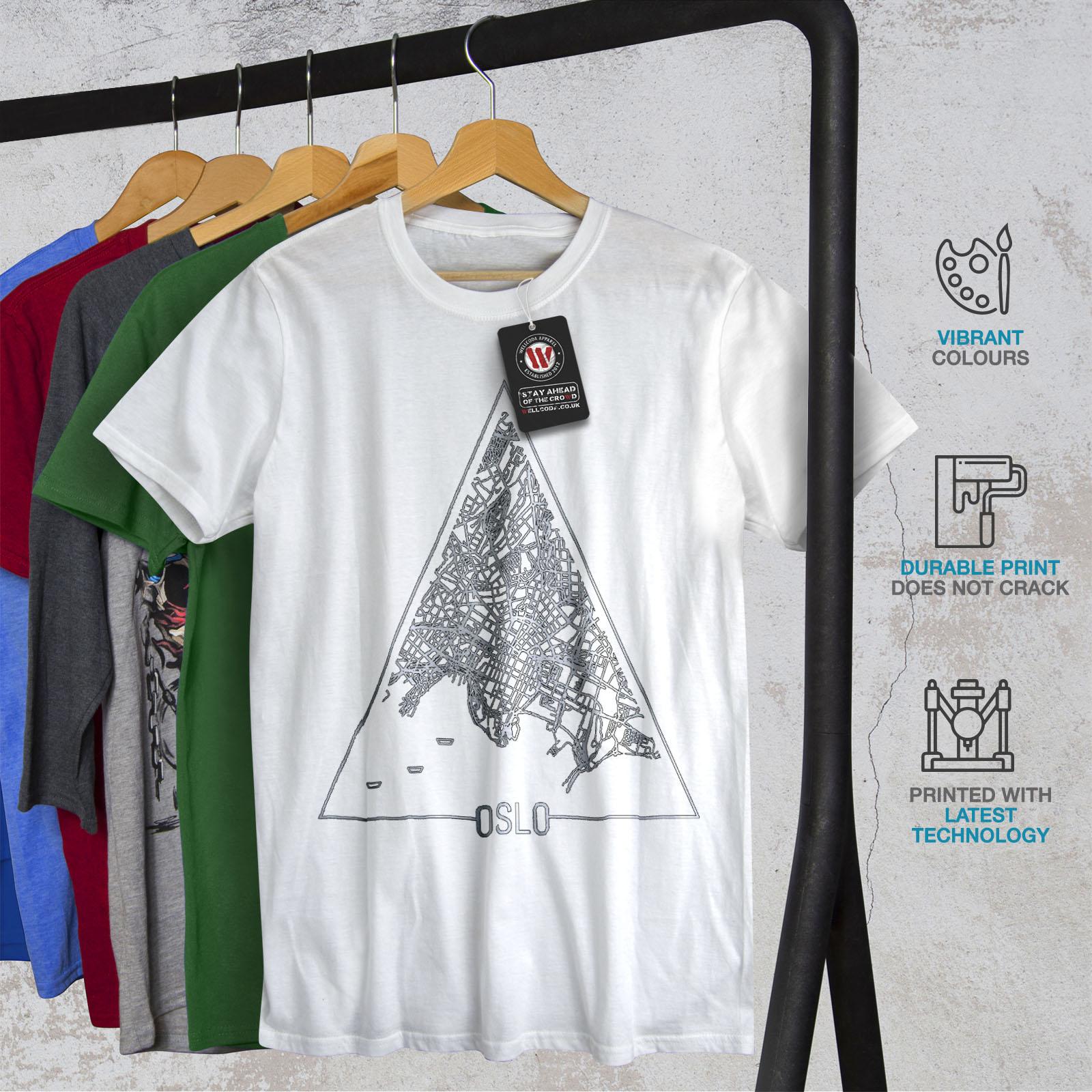Wellcoda-Norvegia-Big-City-Oslo-da-uomo-T-shirt-Citta-design-grafico-stampato-T-shirt miniatura 12
