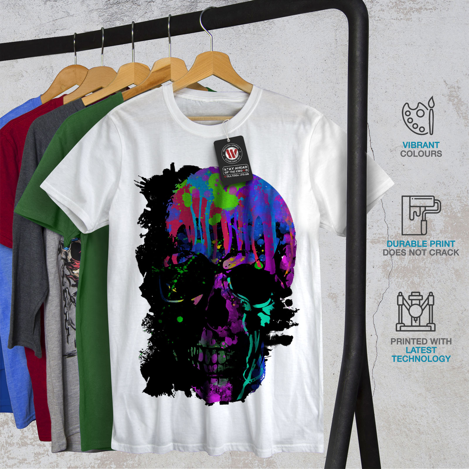 Wellcoda-Skull-Artsy-Mens-T-shirt-Neon-Night-Graphic-Design-Printed-Tee thumbnail 12