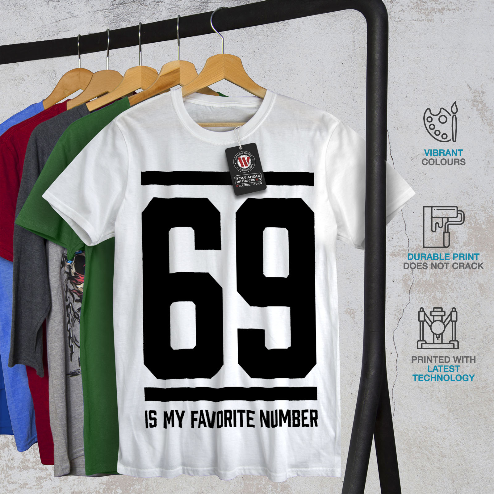 Wellcoda-69-Favorite-Number-Mens-T-shirt-Sports-Graphic-Design-Printed-Tee thumbnail 12