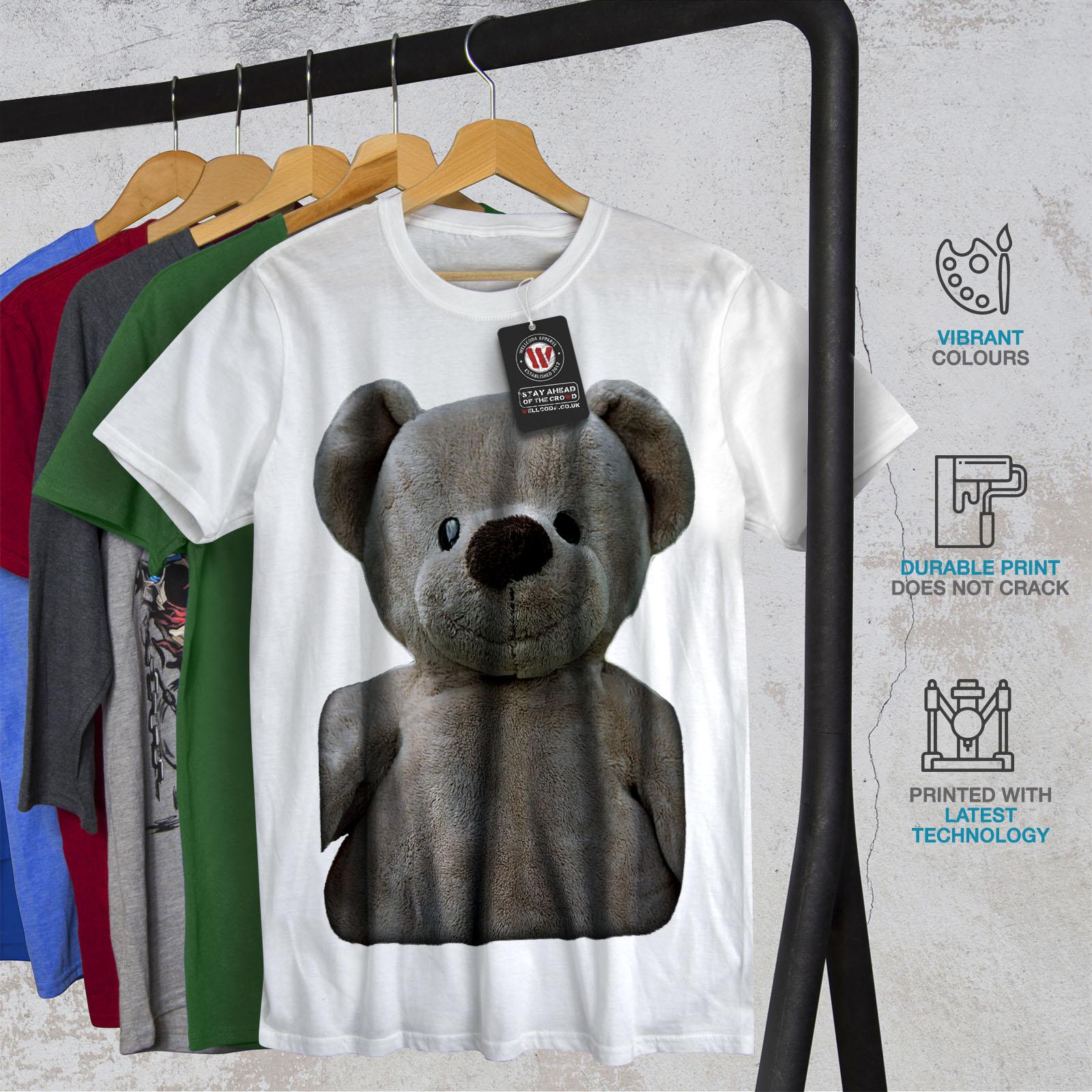 miniature 12 - Wellcoda Cute Plush Mens T-shirt, Teddy Bear Graphic Design Printed Tee