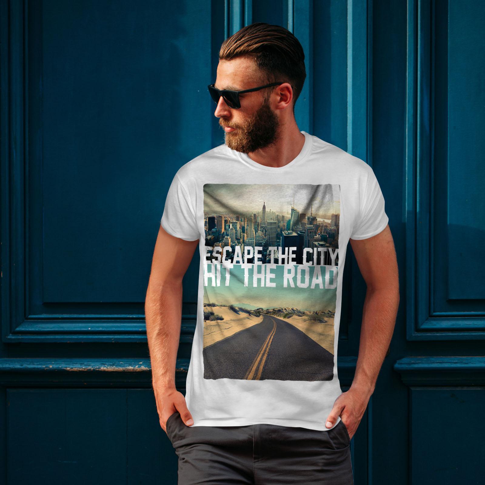 Wellcoda-Escape-The-City-Herren-T-Shirt-Lifestyle-Grafikdesign-Printed-Tee Indexbild 10