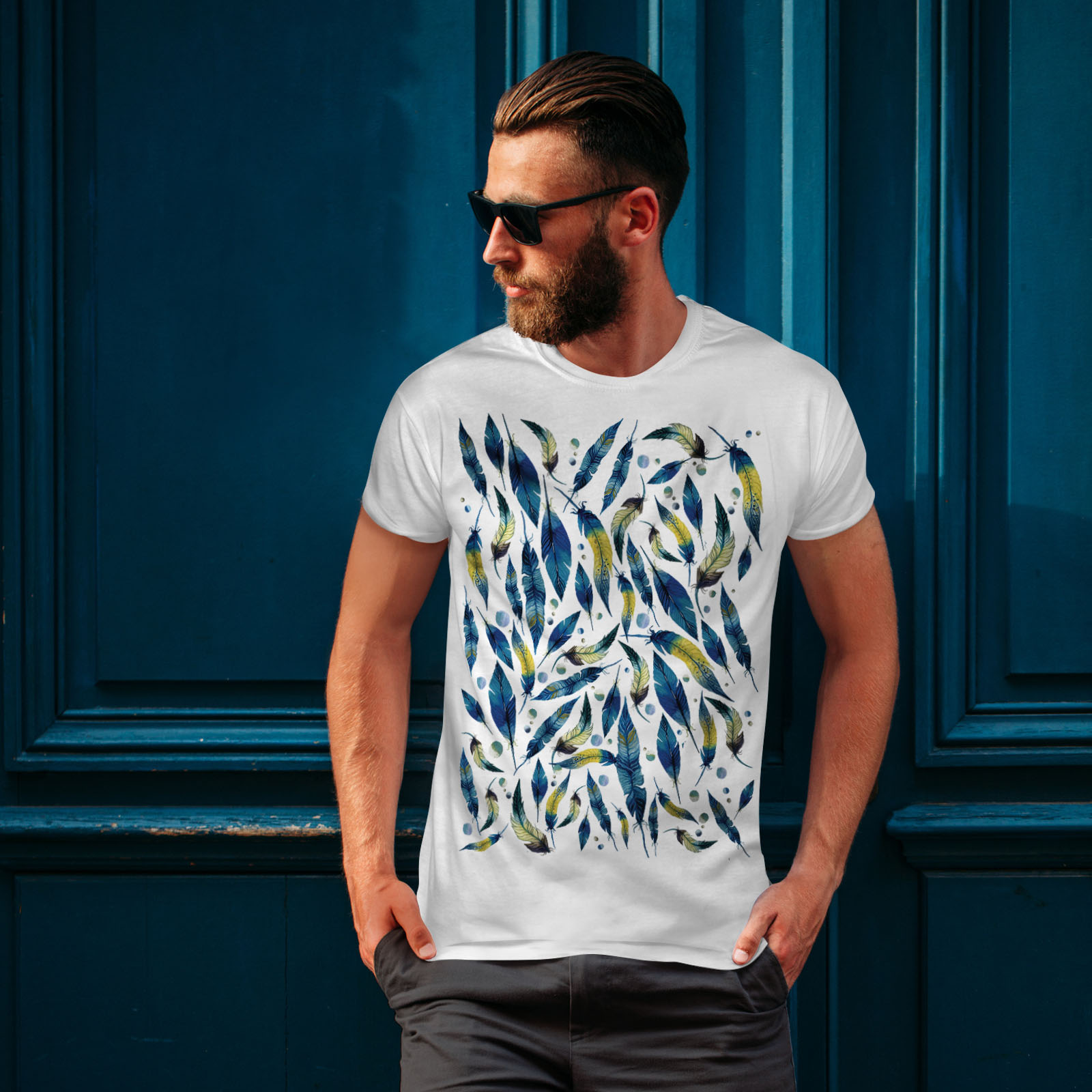 Wellcoda-fashion-Plumes-T-shirt-homme-Abstract-Design-graphique-imprime-Tee miniature 10