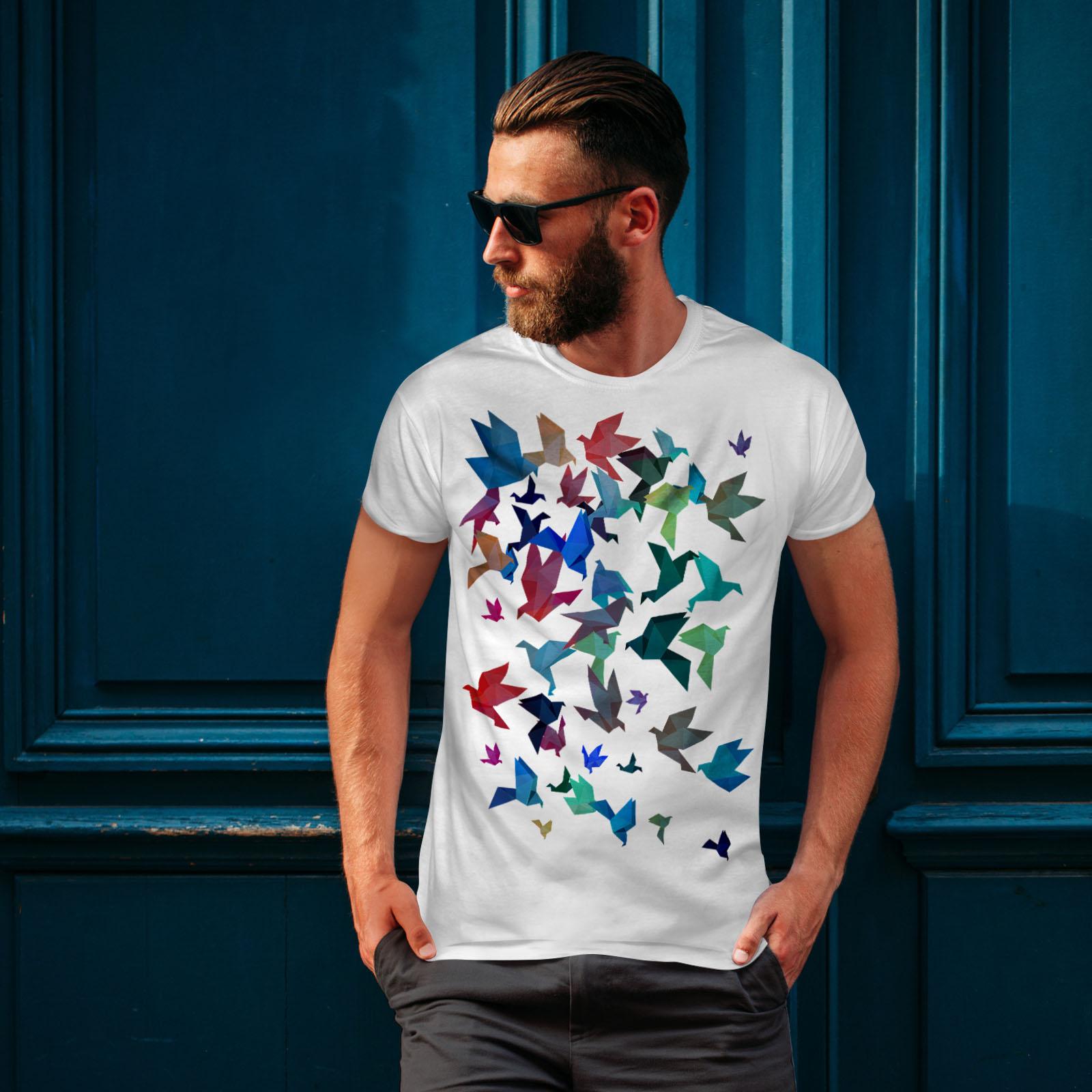 Wellcoda-Origami-Bird-Colors-Mens-T-shirt-Craft-Graphic-Design-Printed-Tee thumbnail 10