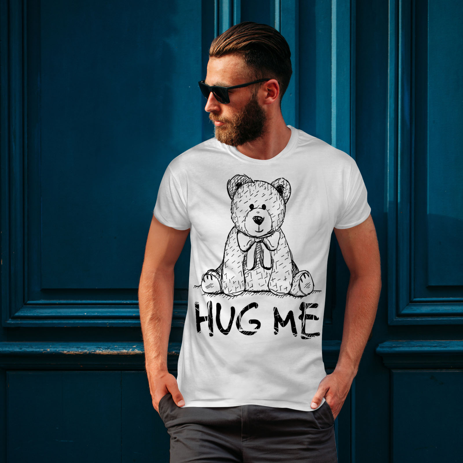 miniature 10 - Wellcoda Hug Me Teddy Bear Mens T-shirt, Nice & Graphic Design Printed Tee