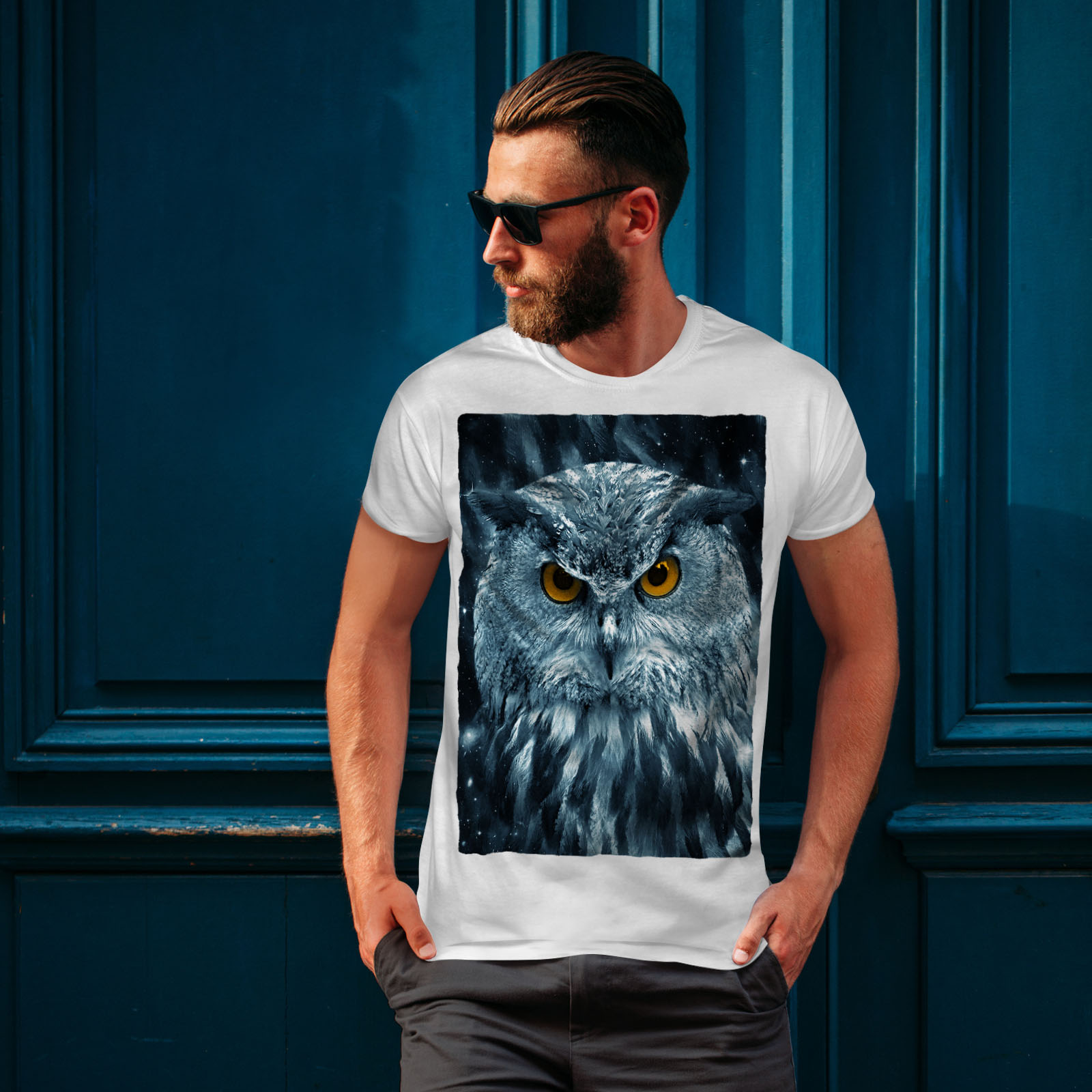 miniature 10 - Wellcoda-Wild-Looking-Owl-Mens-T-shirt-Mother-Graphic-Design-Printed-Tee