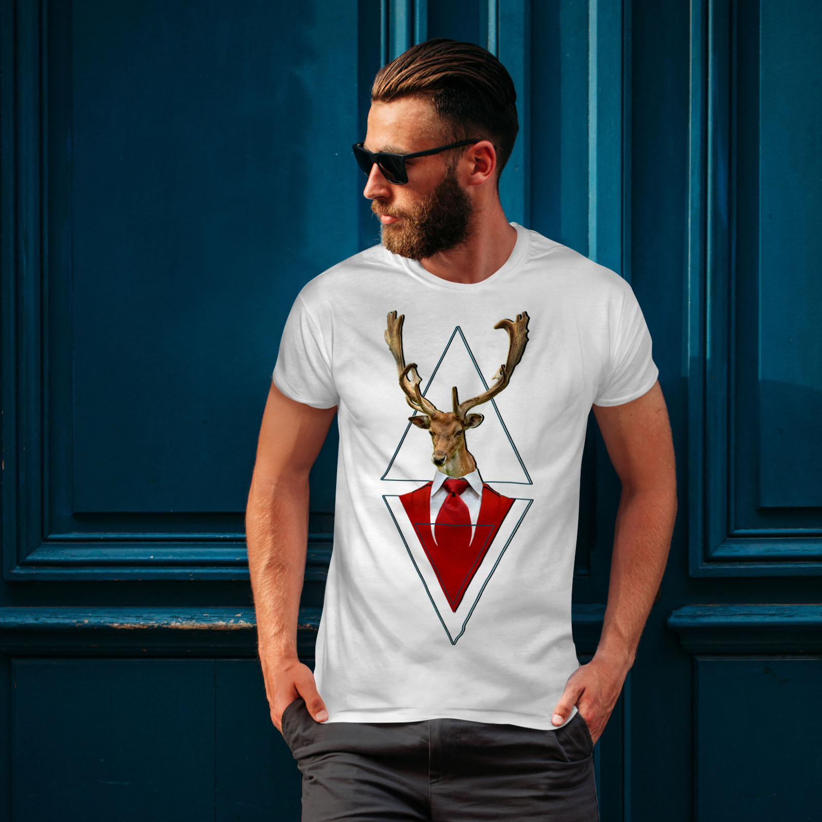 Wellcoda-Abstract-Animal-T-shirt-Homme-chic-design-graphique-imprime-Tee miniature 10
