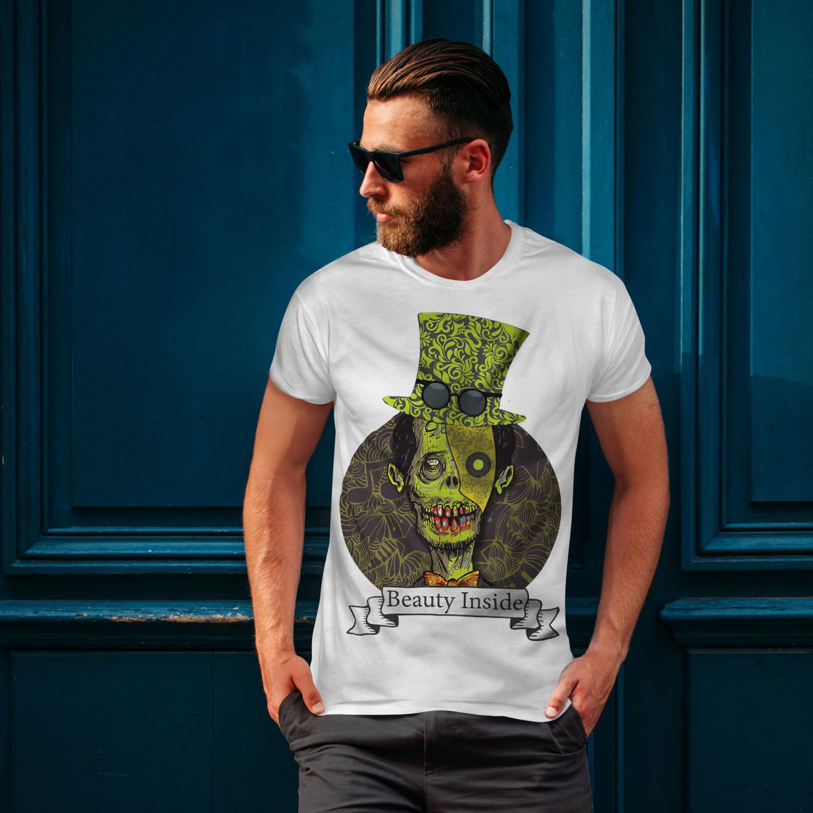 Wellcoda UOMO MORTO ZOMBIE Beauty da uomo T-shirt Spaventoso design grafico stampato T-shirt